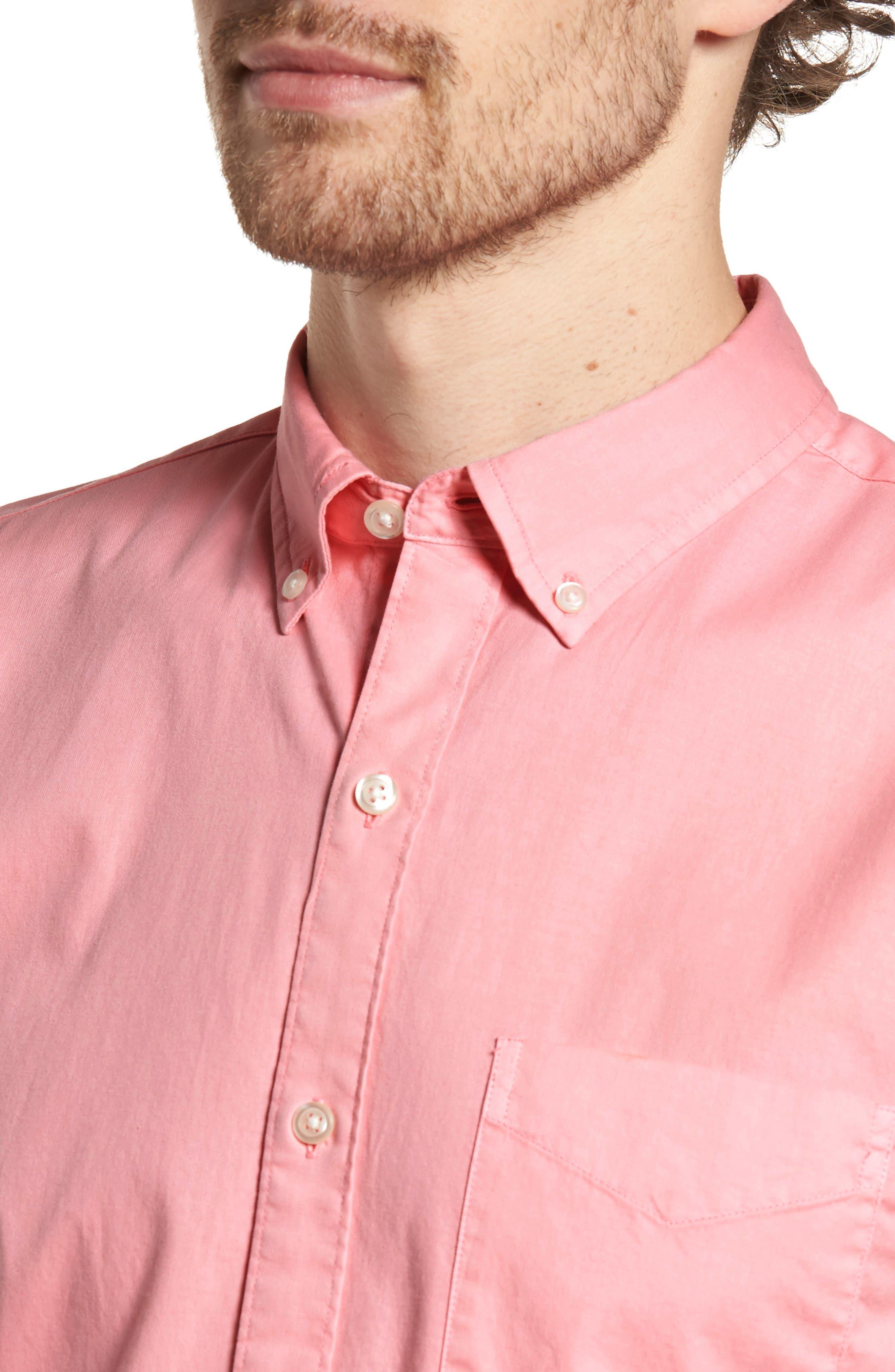 Slim Fit Short Sleeve Sport Shirt,                             Alternate thumbnail 2, color,                             Garment Dye - Pacific Pink