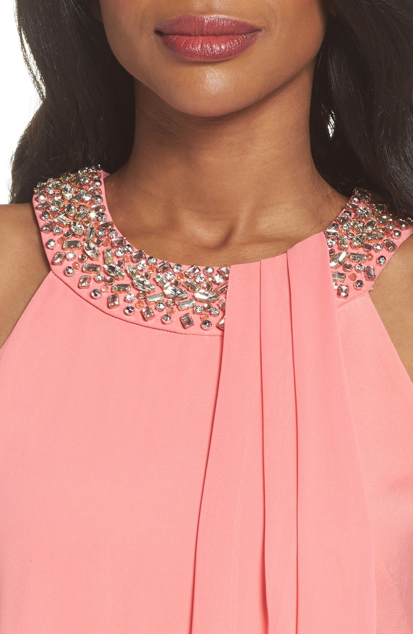 Embellished Chiffon Overlay A-Line Dress,                             Alternate thumbnail 4, color,                             Guava