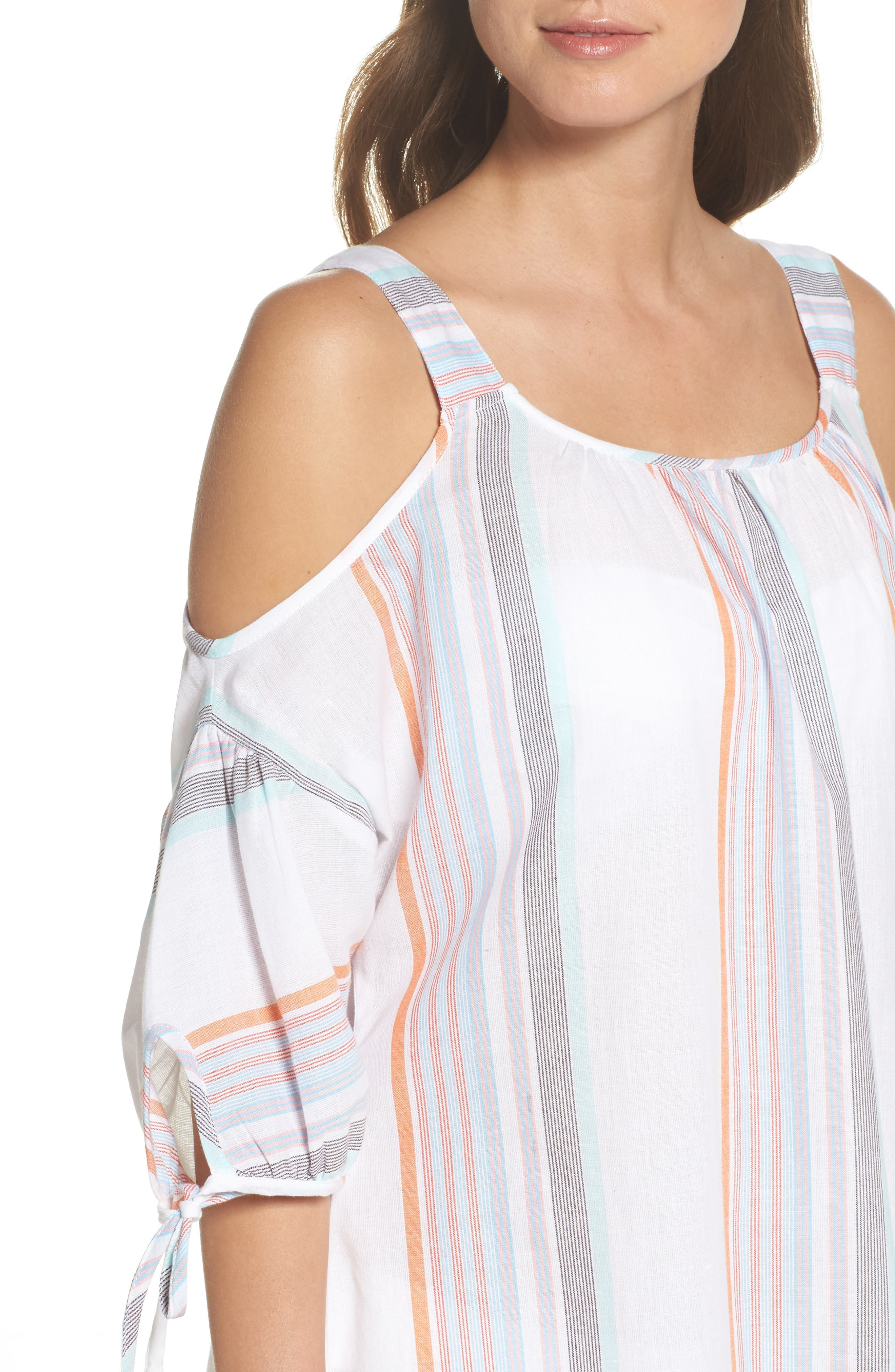 Sunset Stripe Cold Shoulder Cover-Up Dress,                             Alternate thumbnail 4, color,                             White