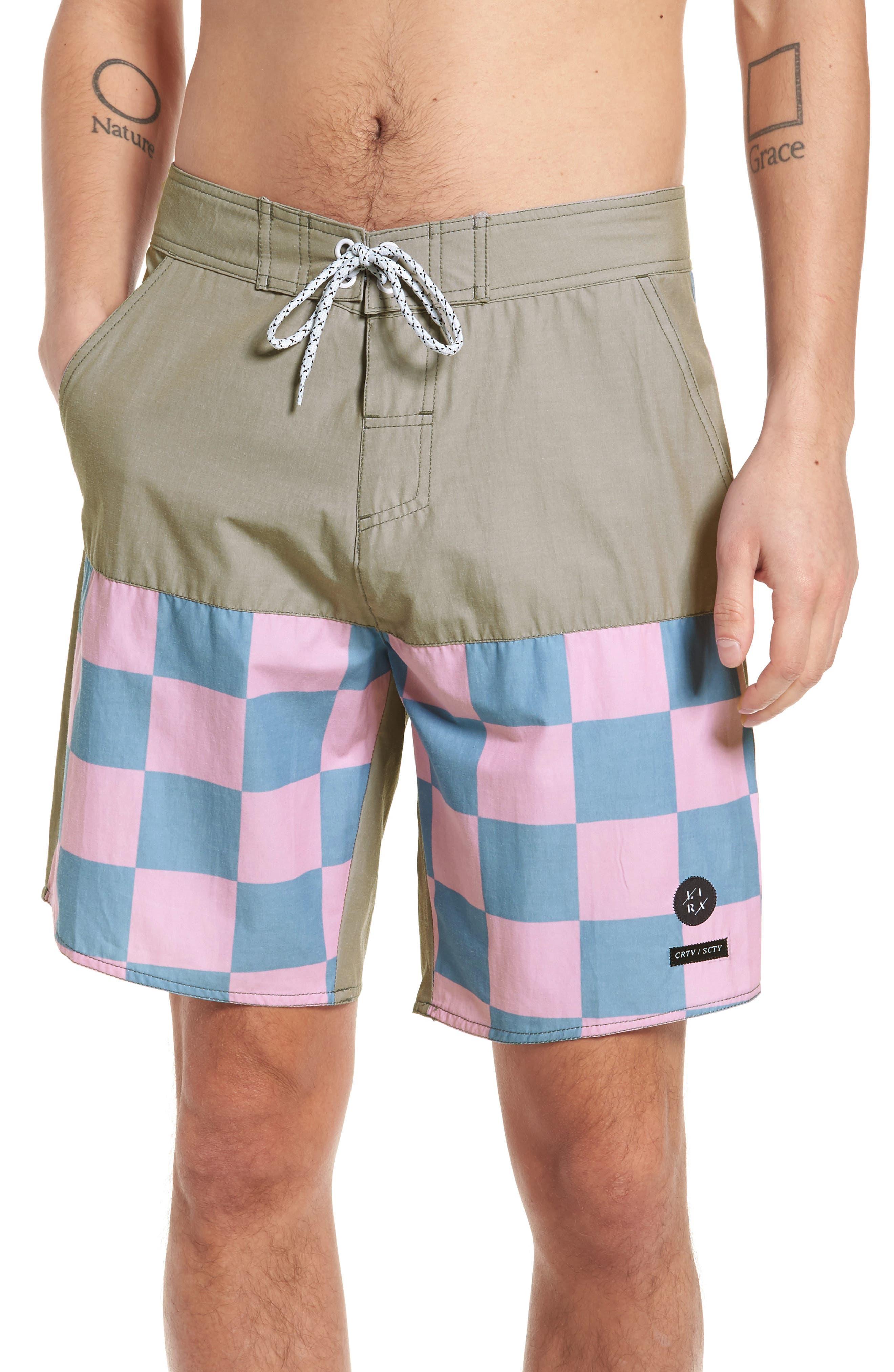 Checkered Board Shorts,                             Main thumbnail 1, color,                             Khaki