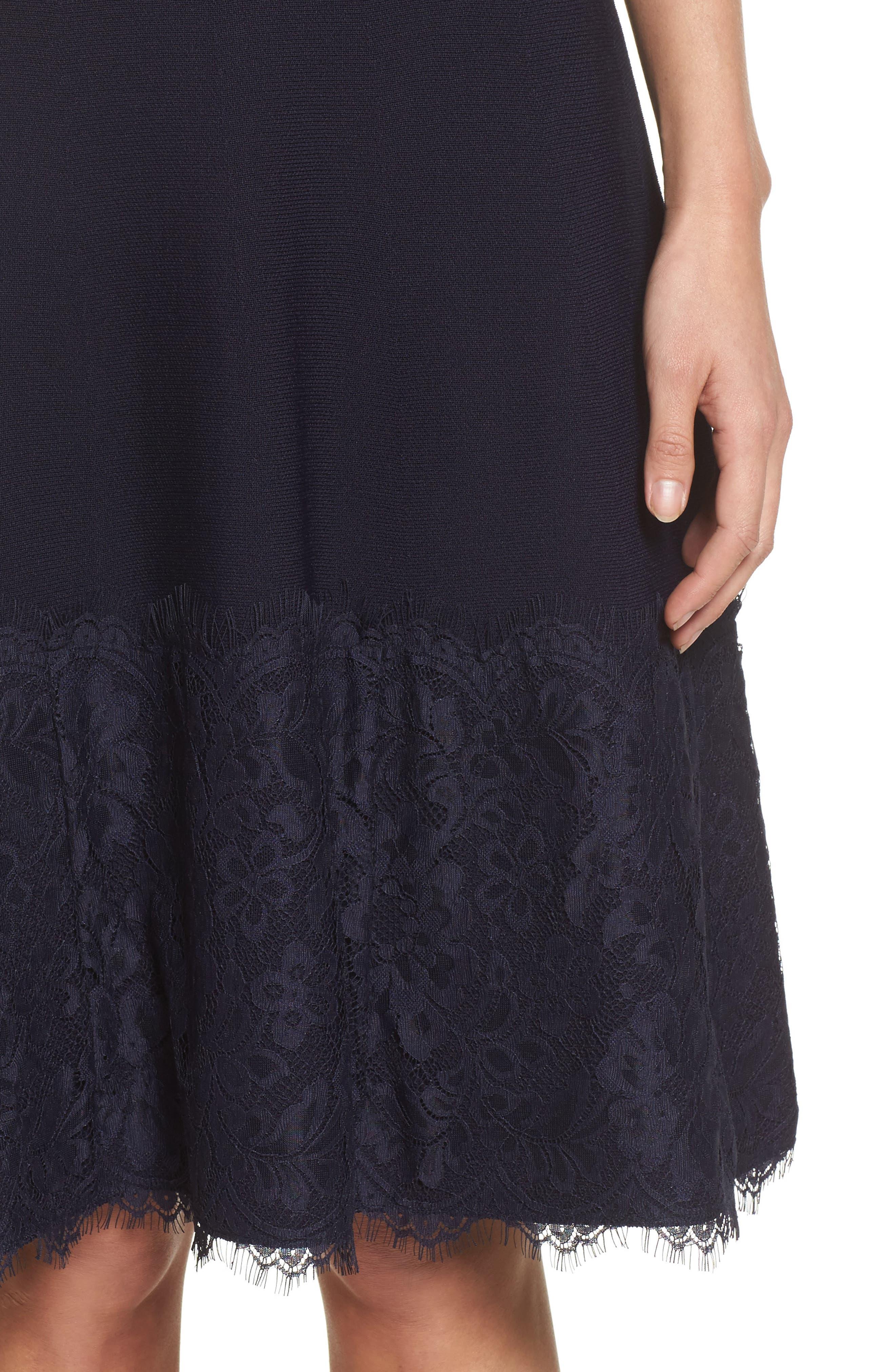 Lace Hem Fit & Flare Dress,                             Alternate thumbnail 4, color,                             Navy
