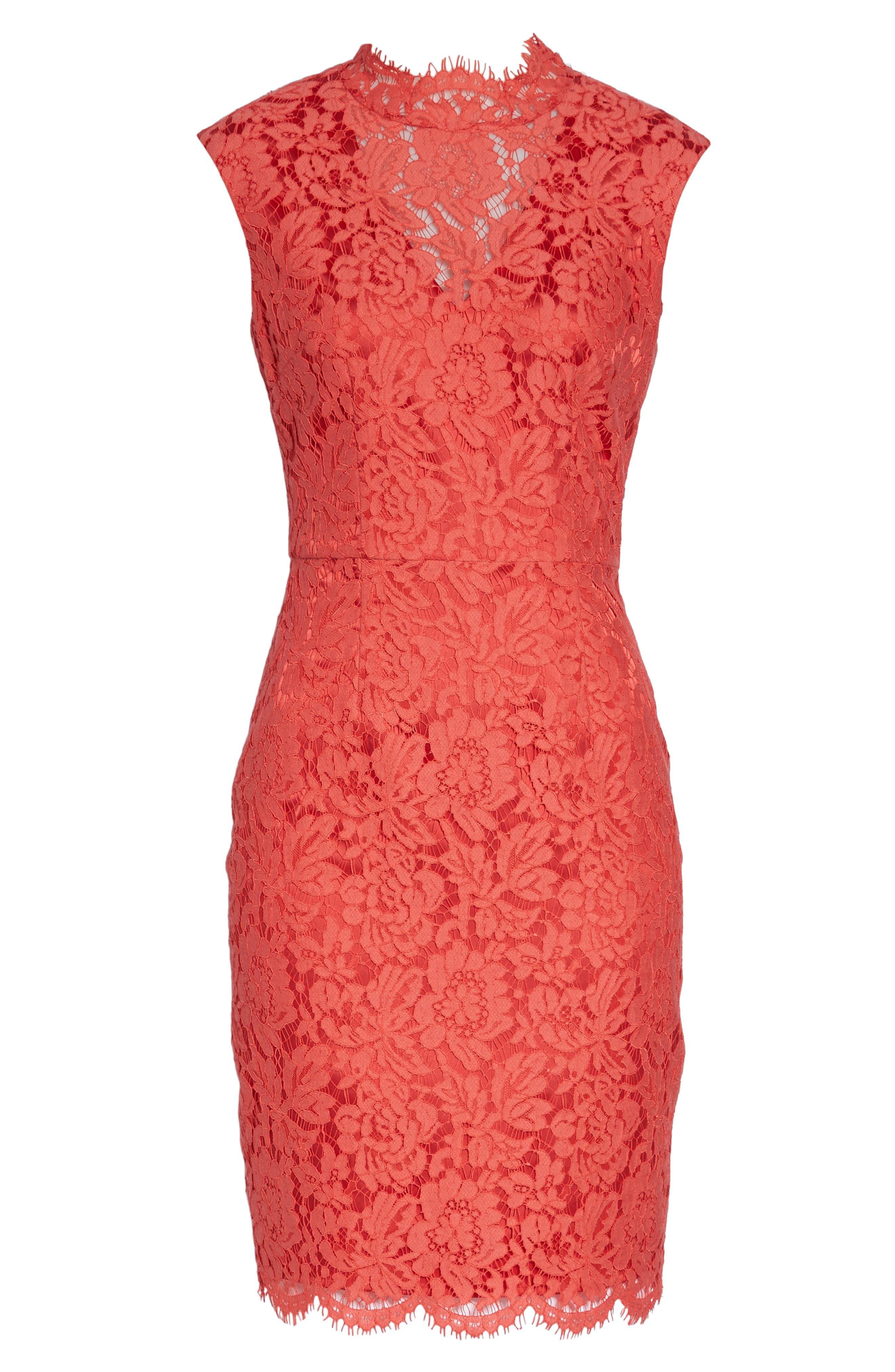 Open Back Lace Sheath Dress,                             Alternate thumbnail 6, color,                             Grenadine