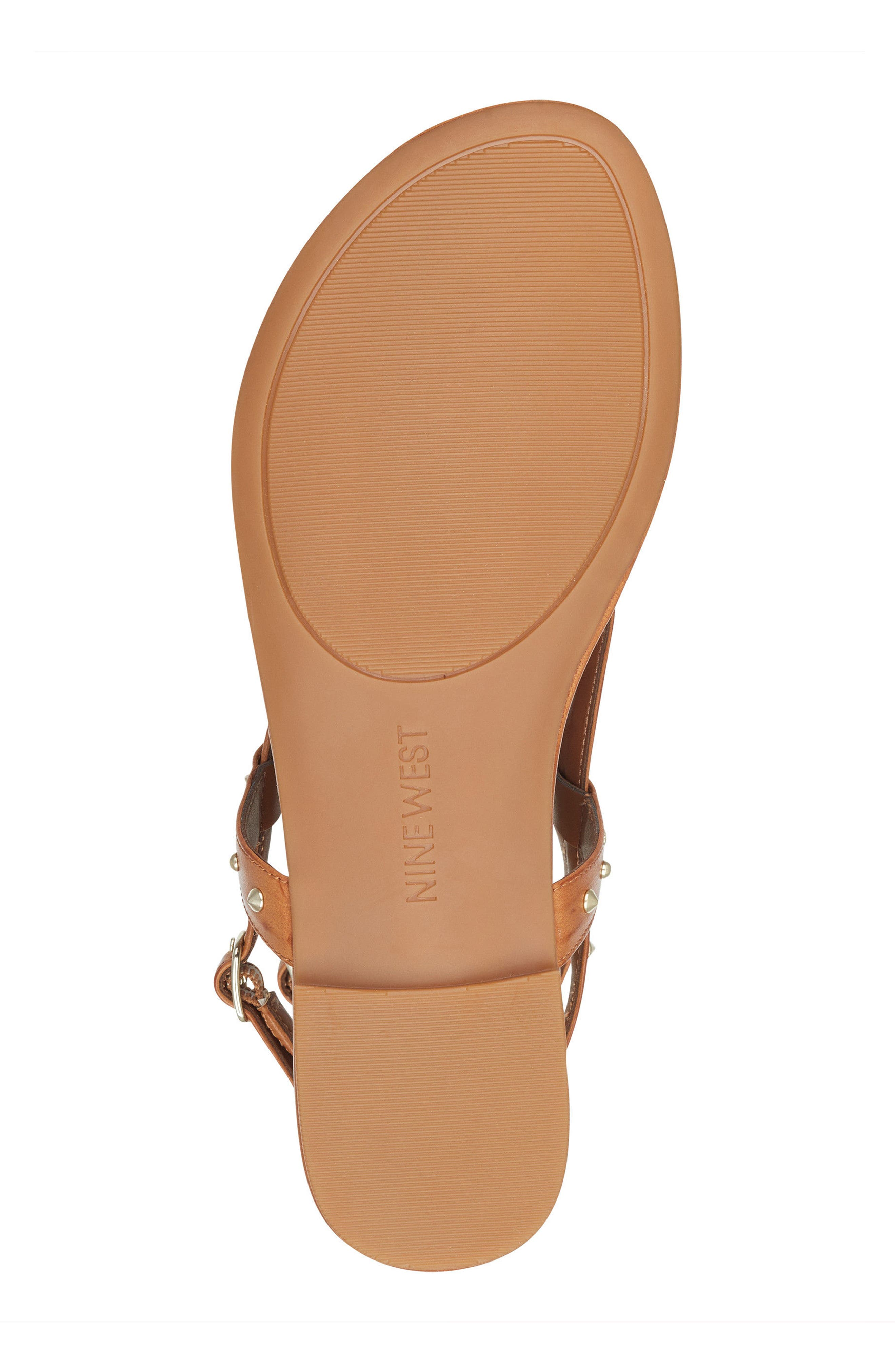 Simcha Studded Wraparound Sandal,                             Alternate thumbnail 6, color,                             Dark Natural Faux Leather