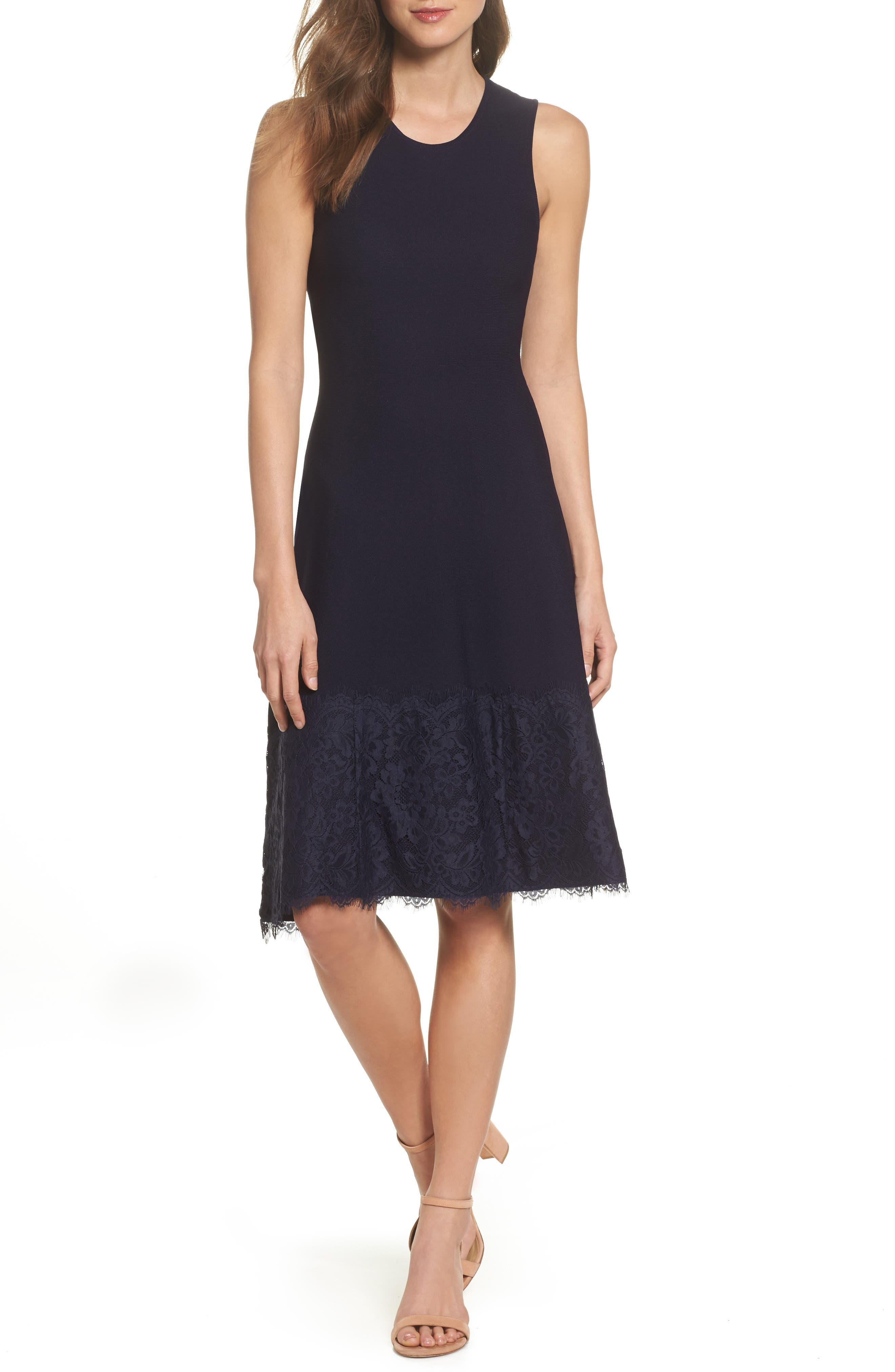 Lace Hem Fit & Flare Dress,                             Main thumbnail 1, color,                             Navy