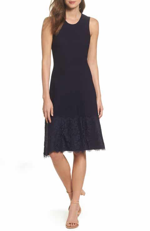 Eliza J Lace Hem Fit & Flare Dress (Regular & Petite)
