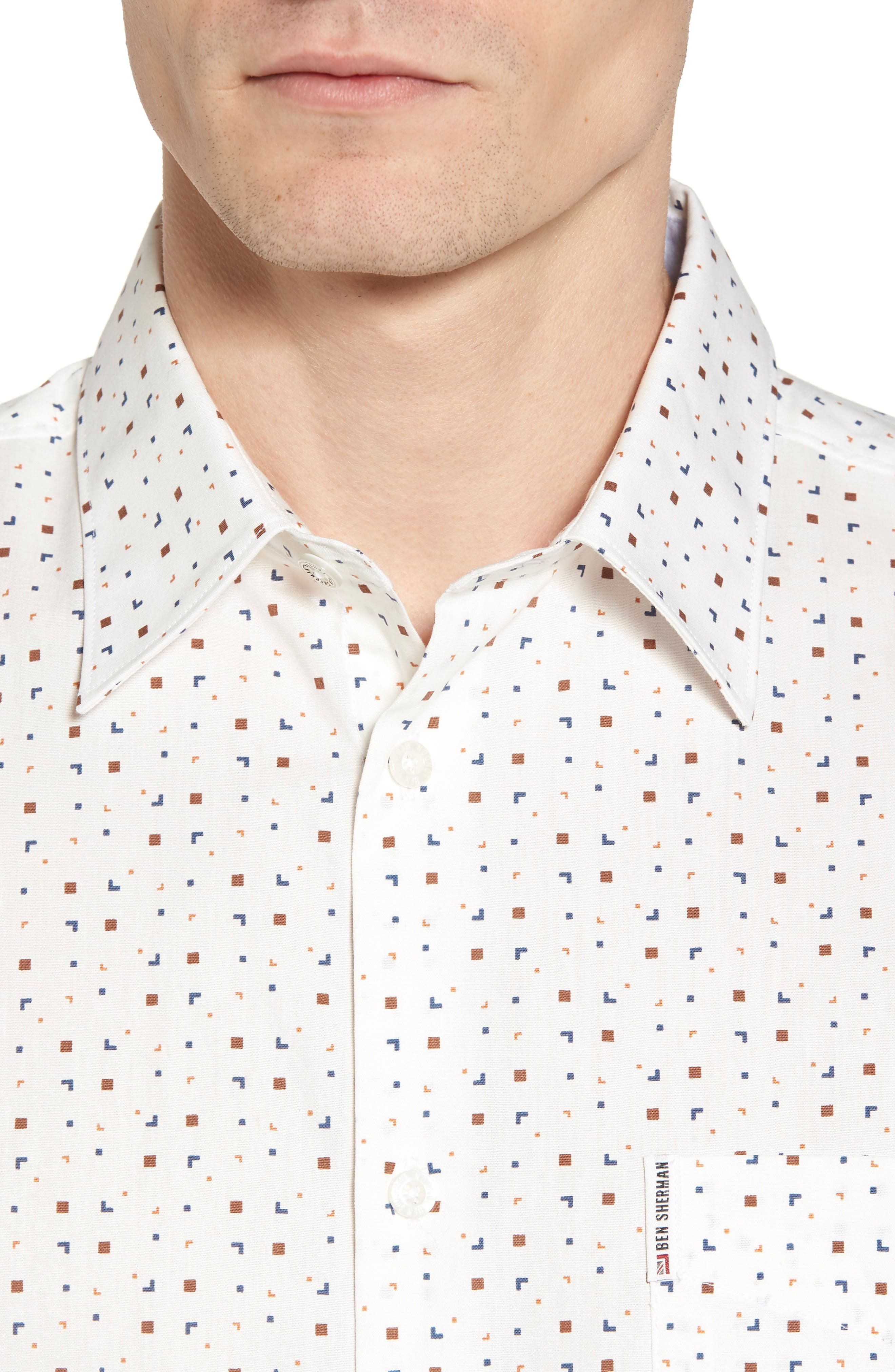 Scattered Geo Woven Shirt,                             Alternate thumbnail 4, color,                             Off White