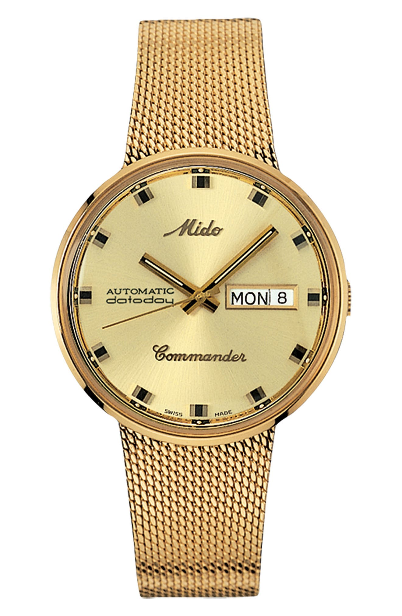 Commander Automatic Mesh Strap Watch, 37mm,                         Main,                         color, Gold/ Yellow/ Gold
