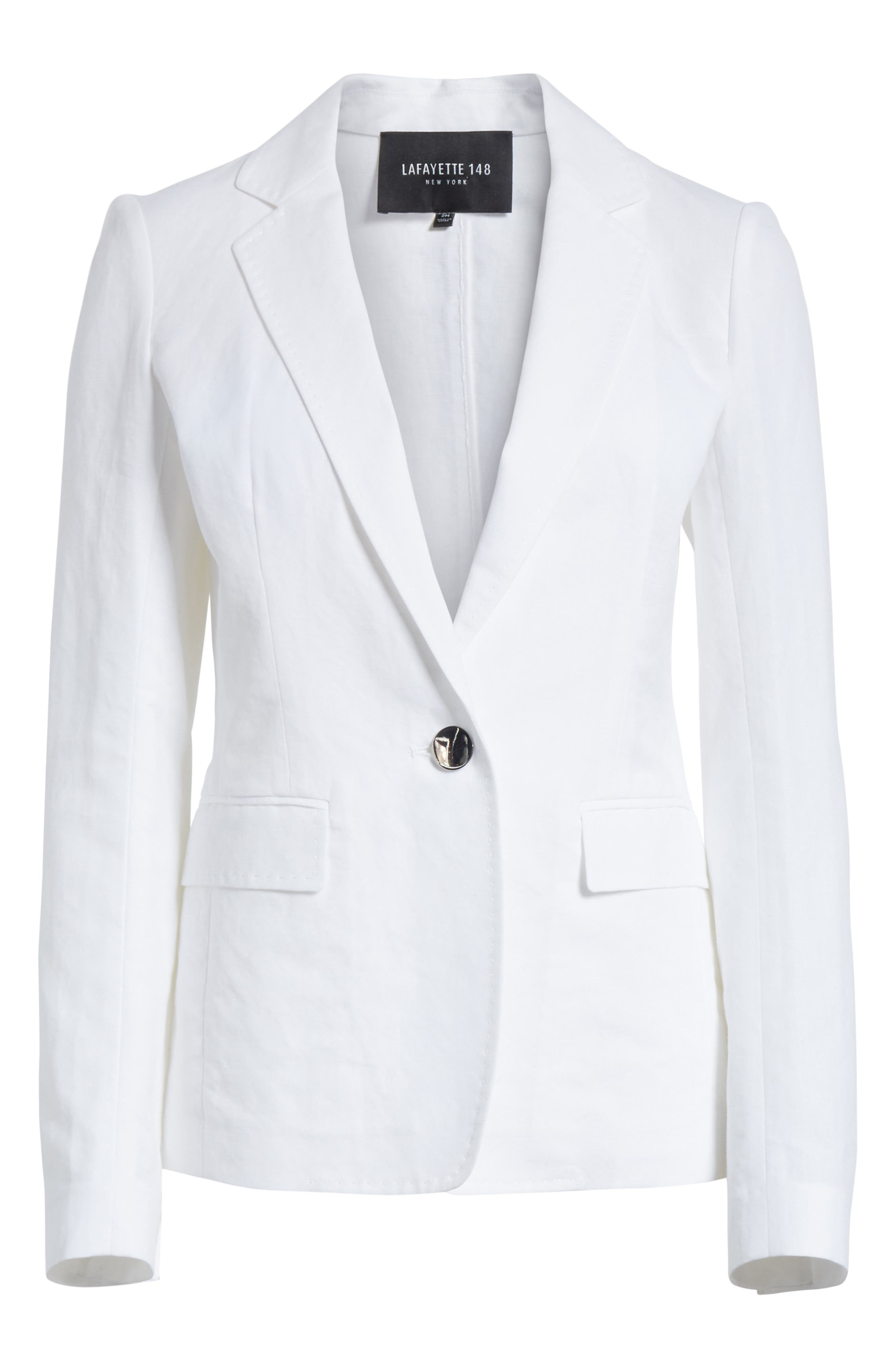 Lyndon Courtly Cotton & Linen Jacket,                             Alternate thumbnail 6, color,                             White