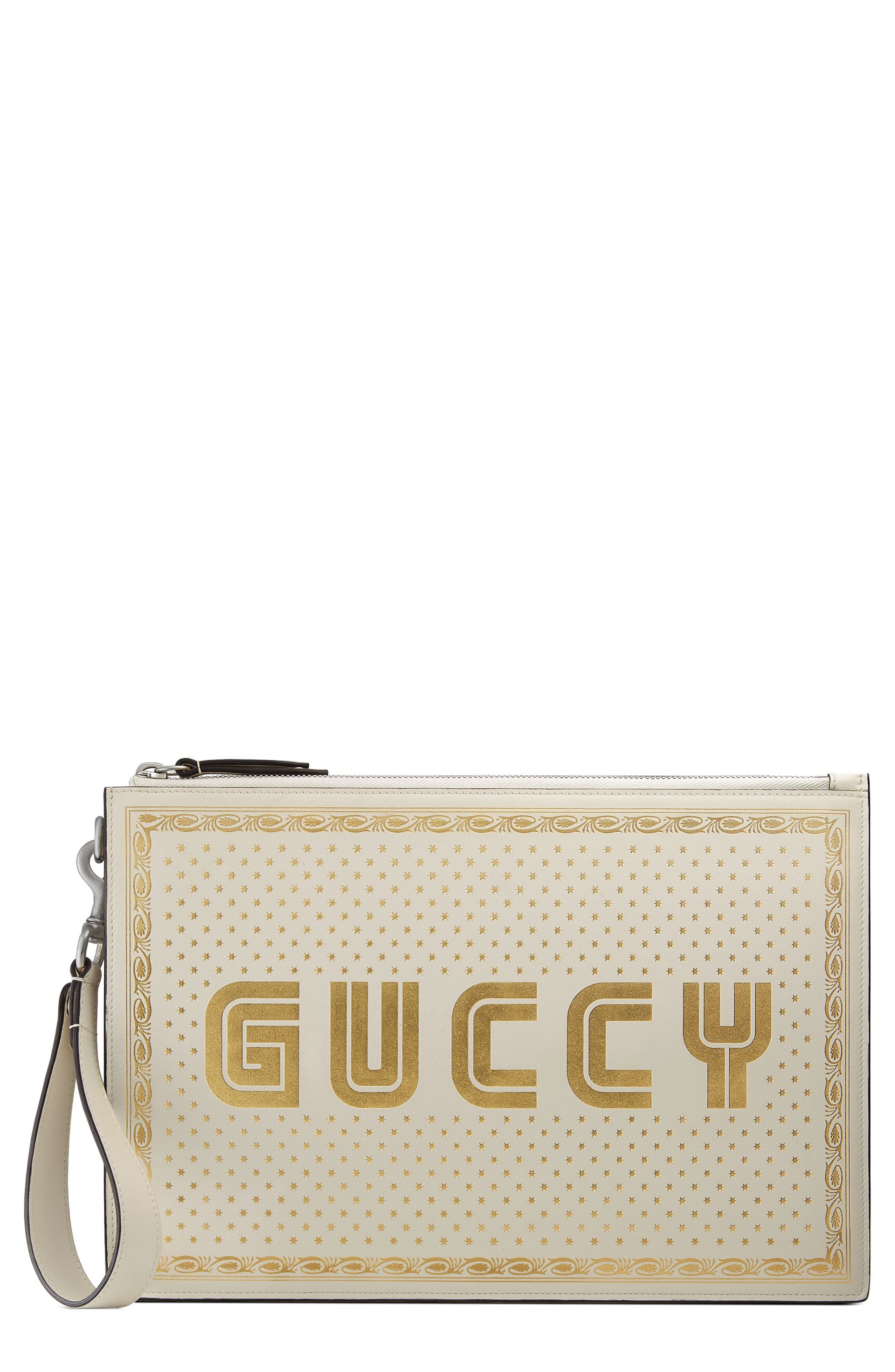 Guccy Moon & Stars Leather Zip Pouch,                             Main thumbnail 1, color,                             Mystic White/ Oro