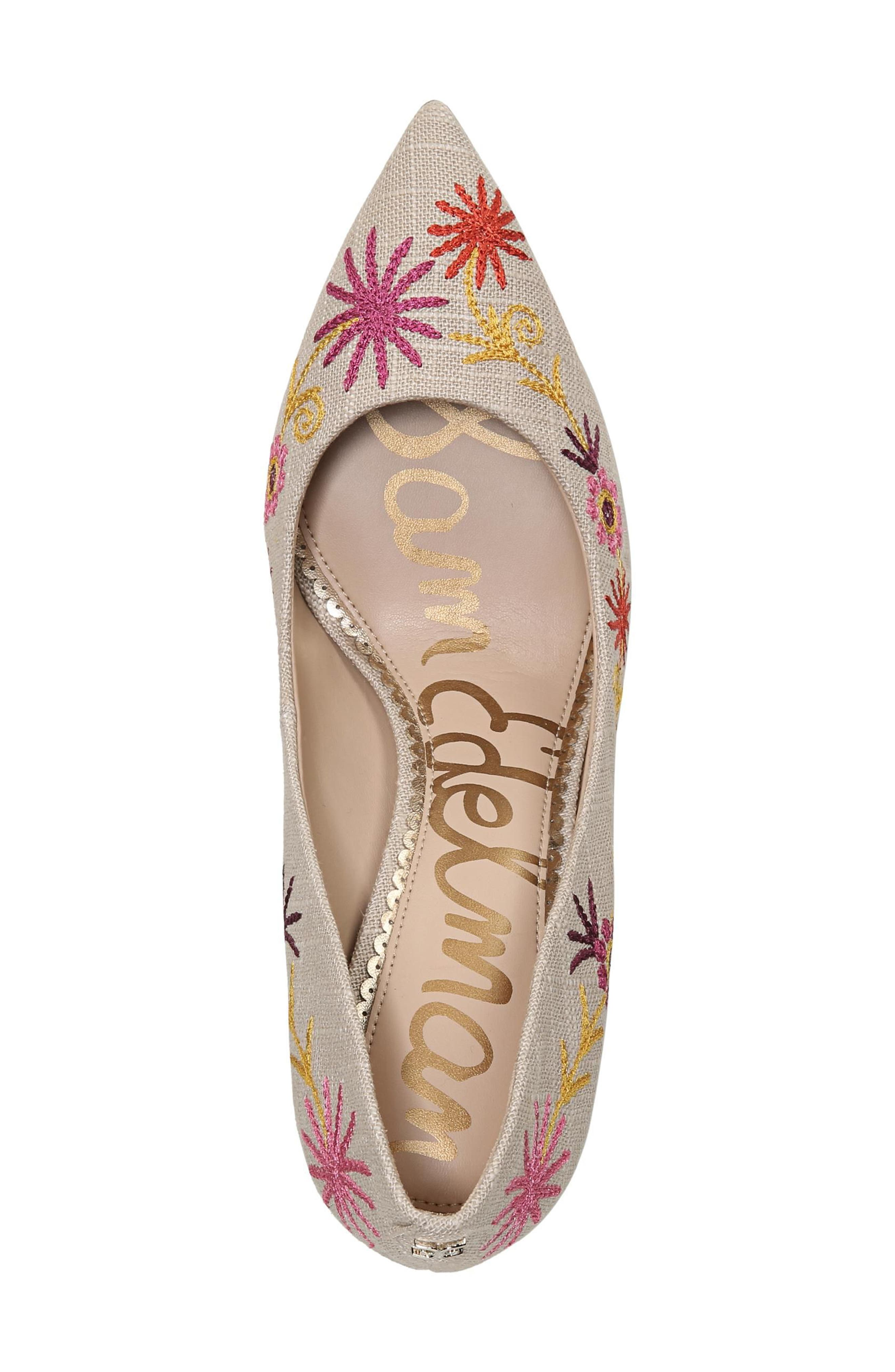 Hazel Pointy Toe Pump,                             Alternate thumbnail 5, color,                             Yellow Embroidery Suede
