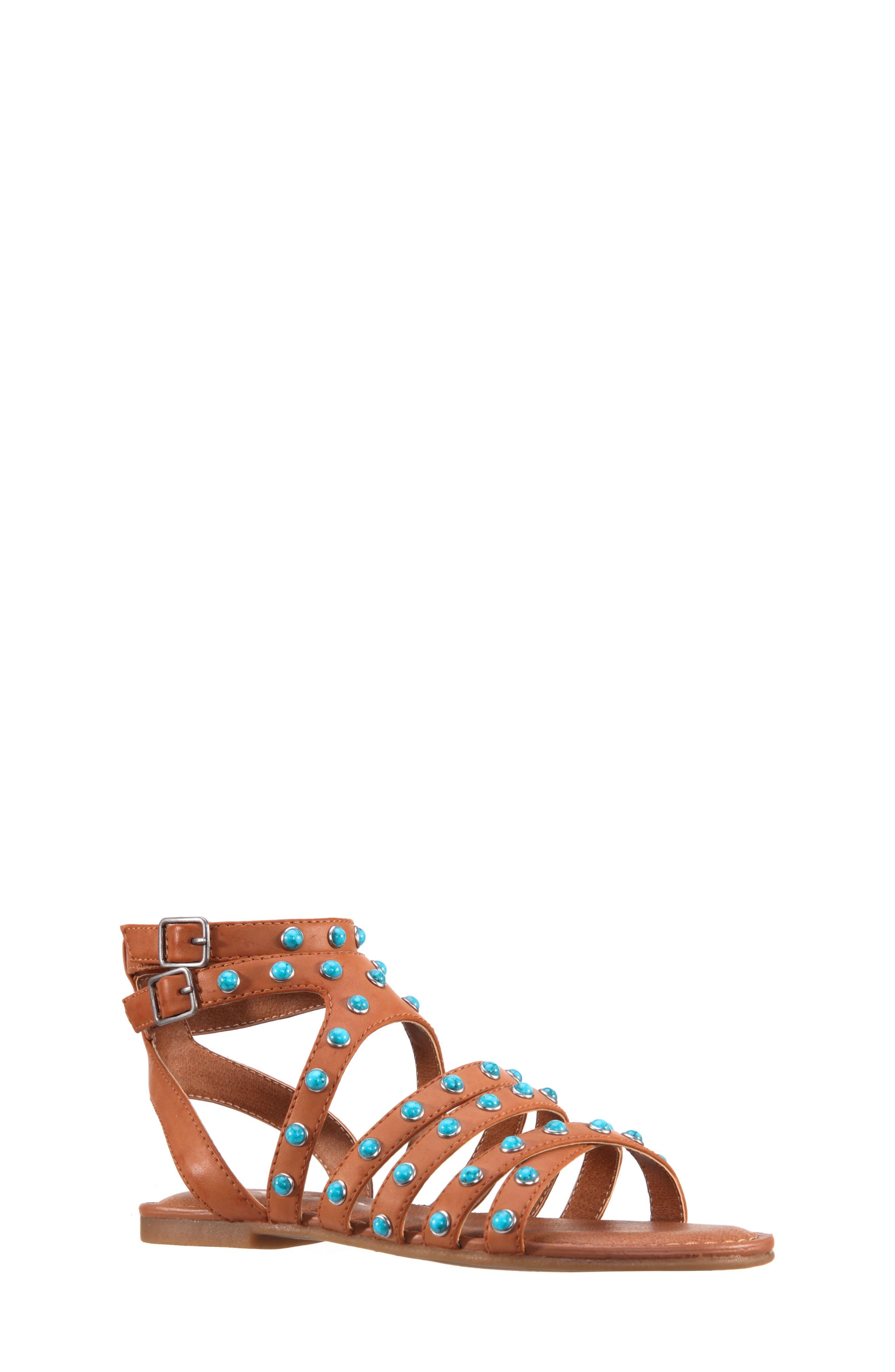 Tammara Studded Gladiator Sandal,                         Main,                         color, Tan Burnished