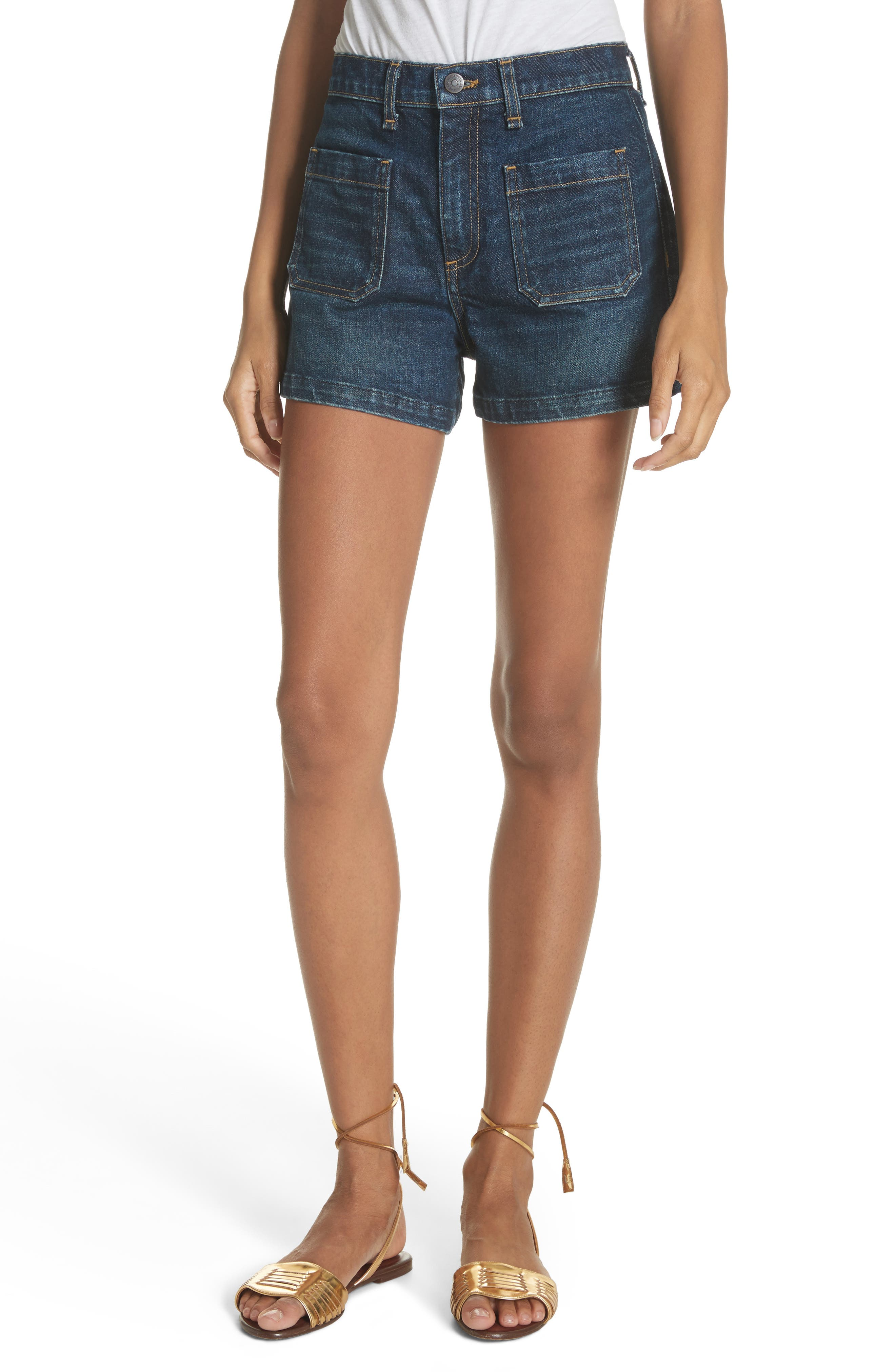 Florence Denim Shorts,                             Main thumbnail 1, color,                             Dark Vintage