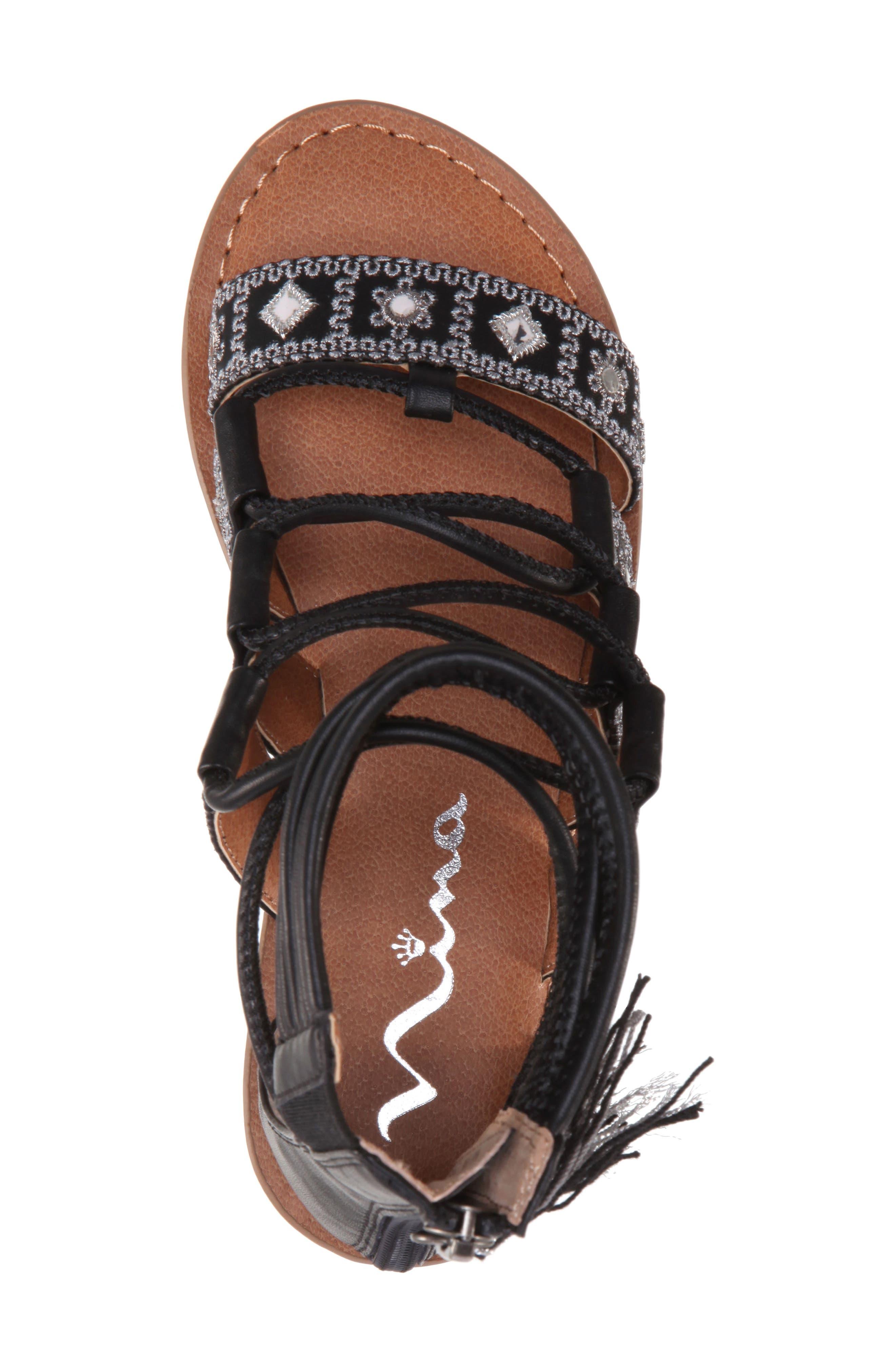Sherryll Embellished Gladiator Sandal,                             Alternate thumbnail 4, color,                             Black Smooth