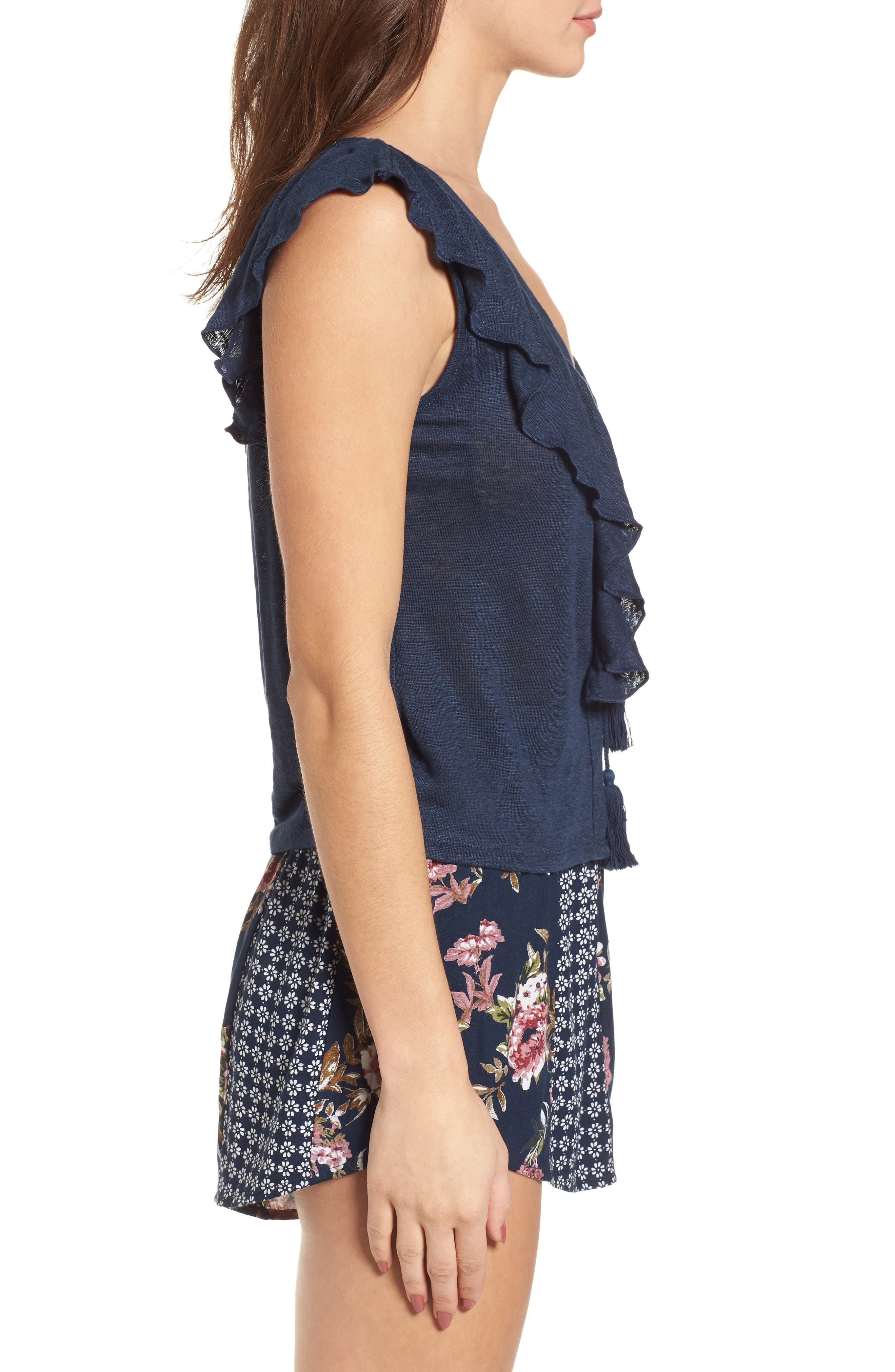 Ruffle Trim Lace Up Linen Top,                             Alternate thumbnail 3, color,                             Navy