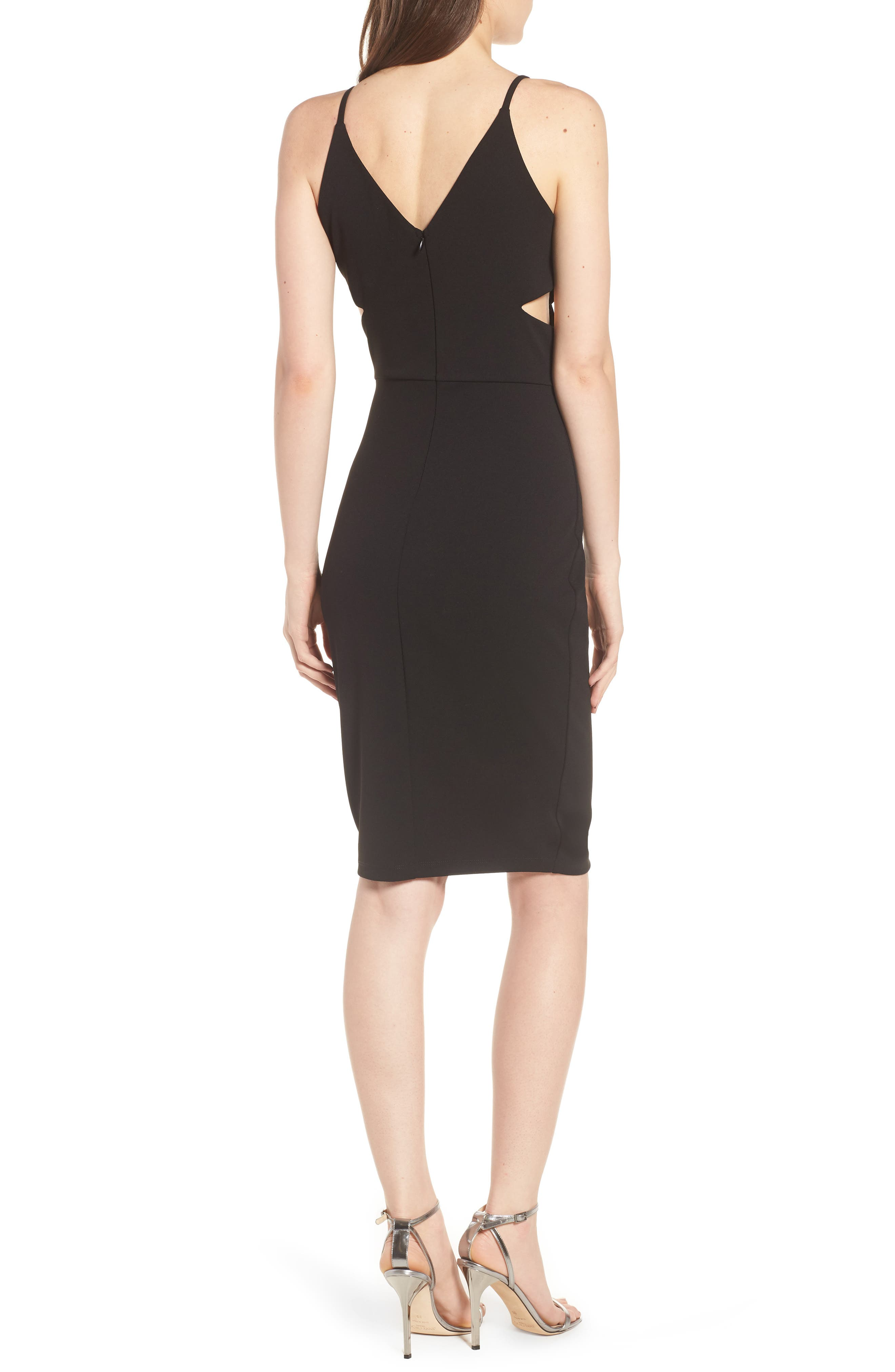 Side Cutout Body-Con Dress,                             Alternate thumbnail 2, color,                             Black
