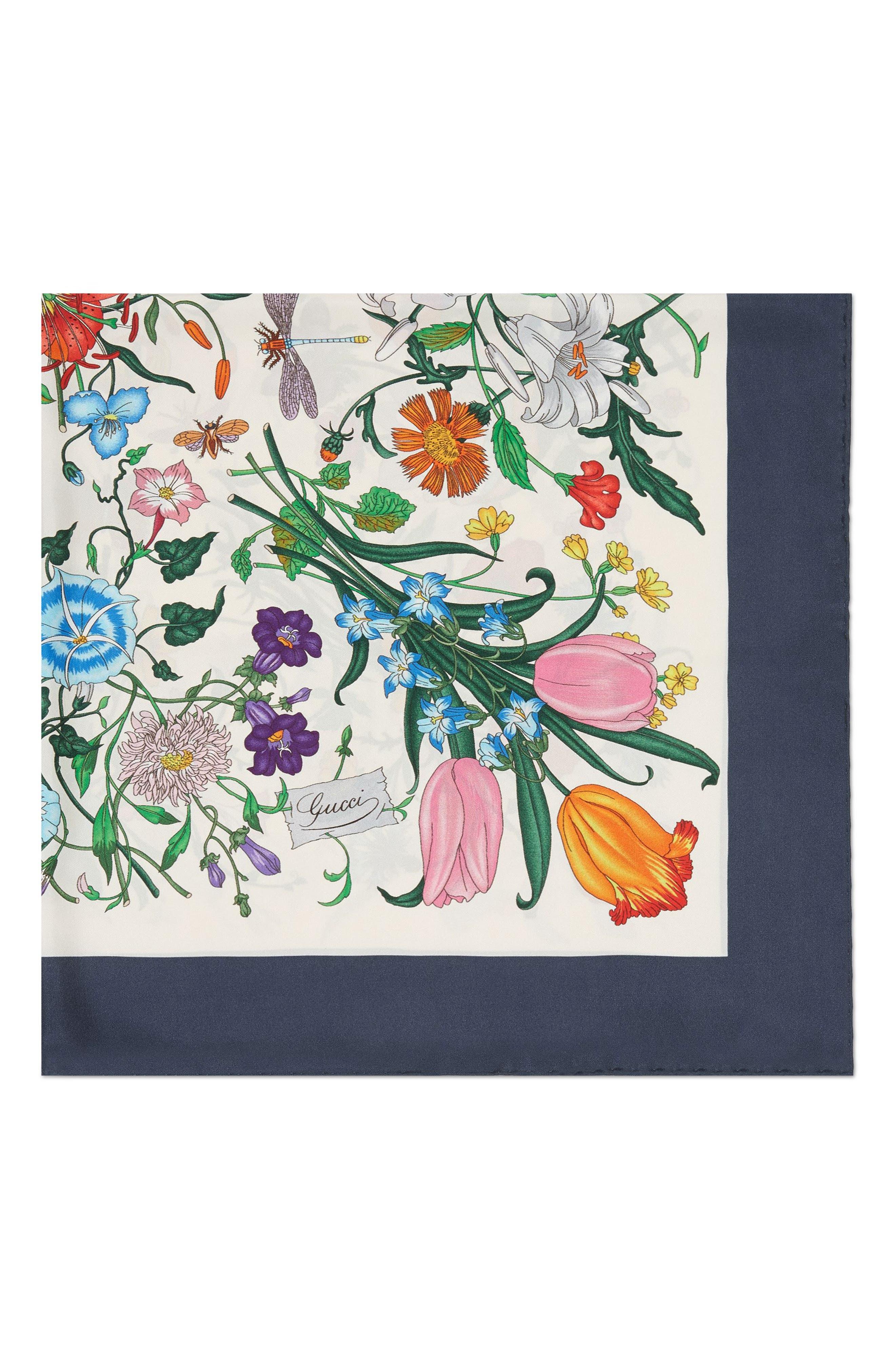 Floral Foulard Silk Twill Scarf,                             Alternate thumbnail 2, color,                             Ivory/ Blue