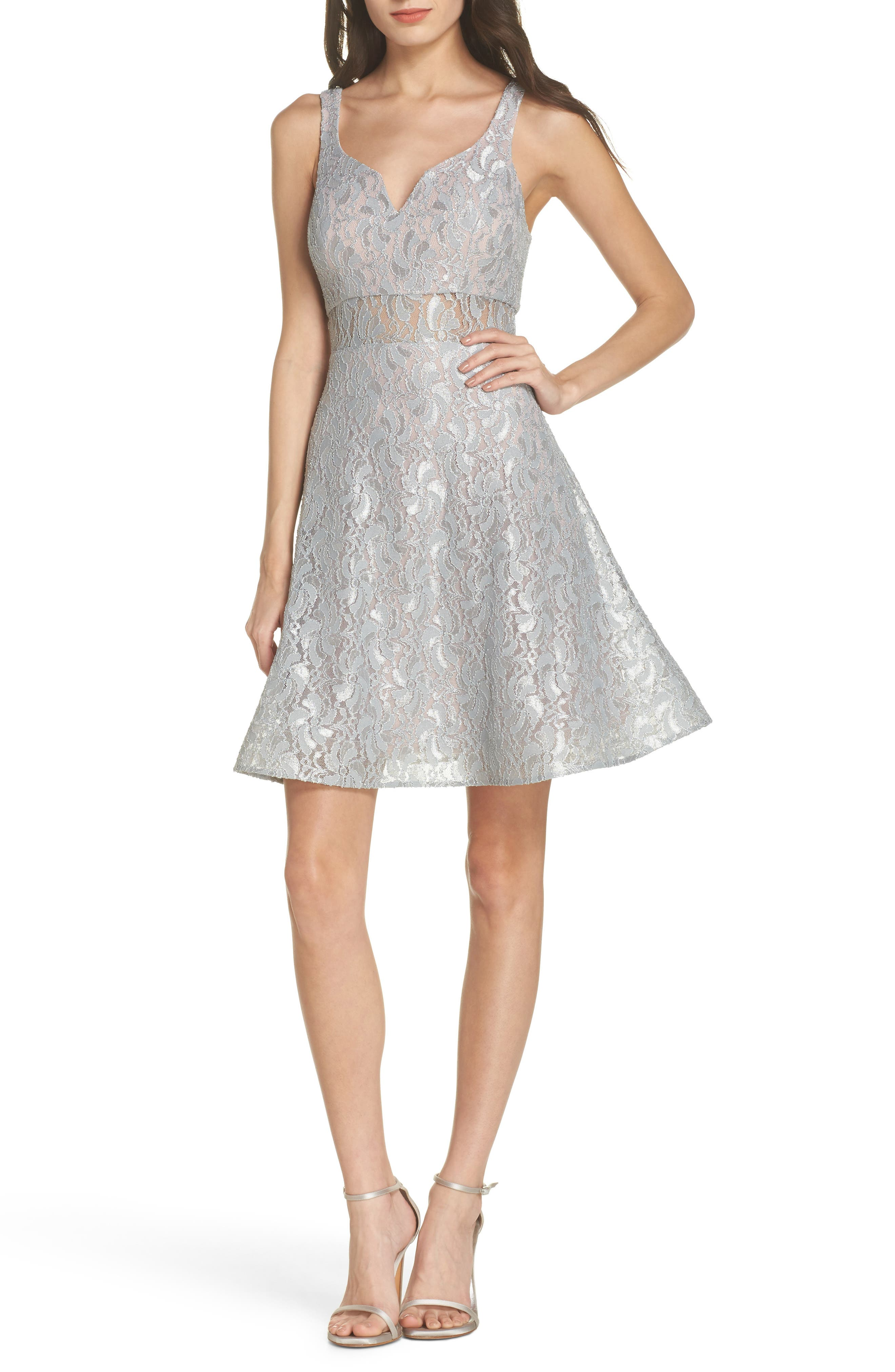 Illusion Waist Lace Fit & Flare Dress,                             Main thumbnail 1, color,                             Silver