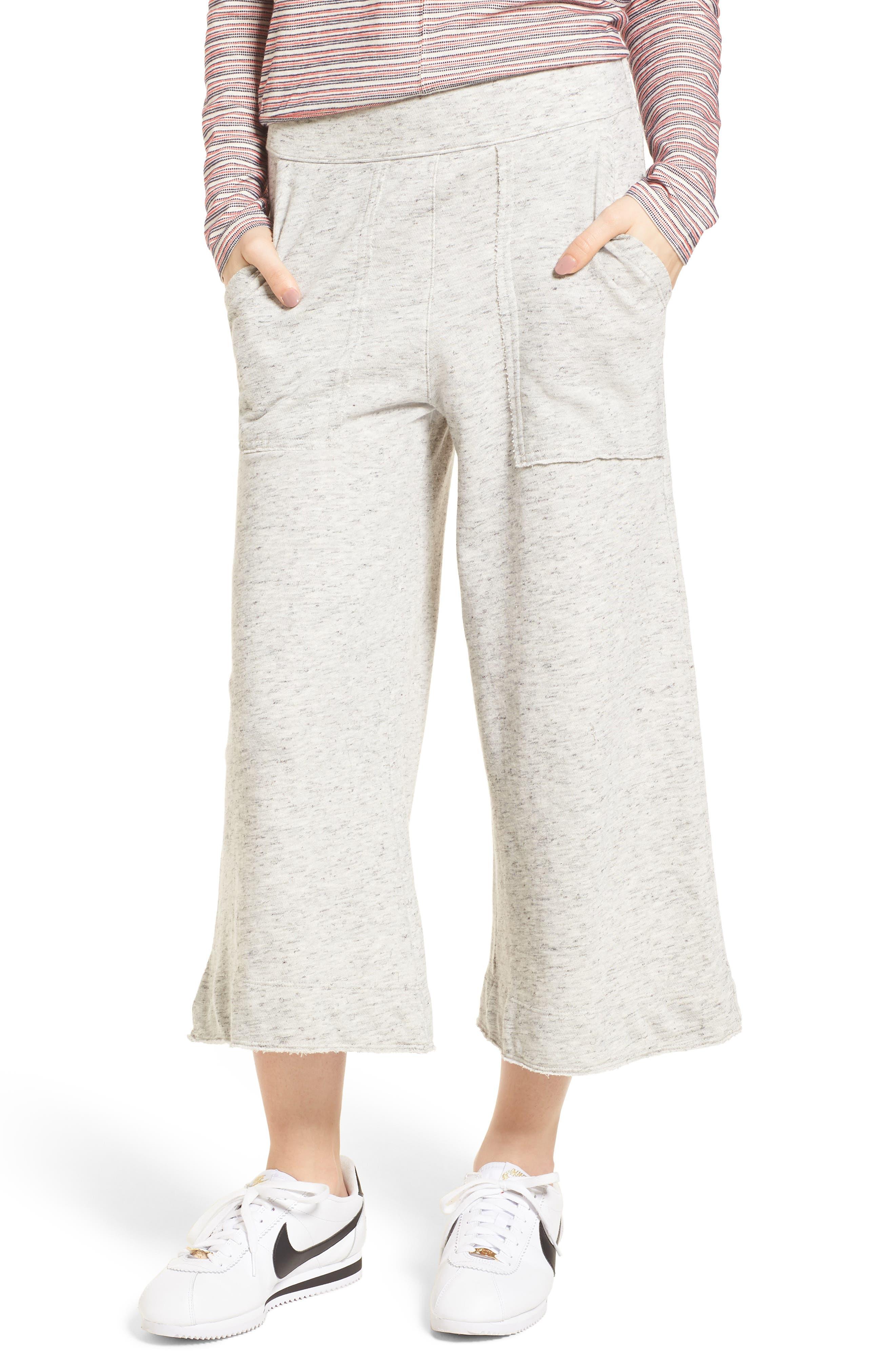 Sidelight Culotte Sweatpants,                             Main thumbnail 1, color,                             Grey