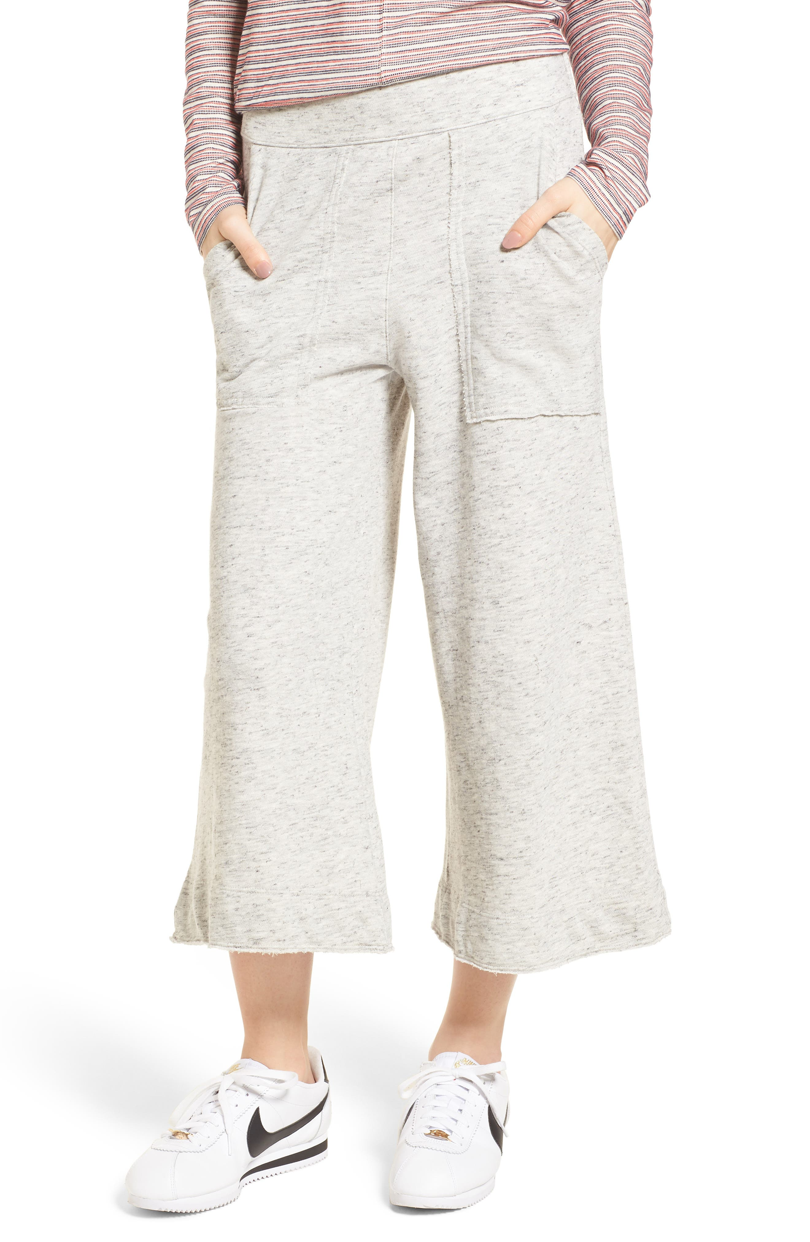 Sidelight Culotte Sweatpants,                         Main,                         color, Grey