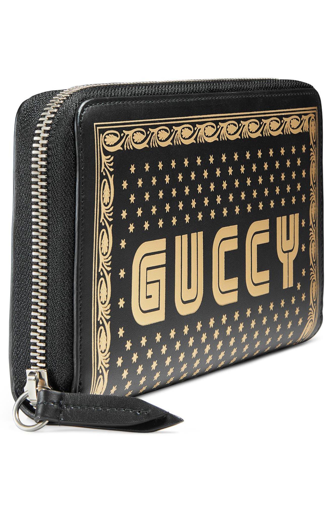 Guccy Logo Moon & Stars Leather Zip Around Wallet,                             Alternate thumbnail 4, color,                             Nero/ Oro