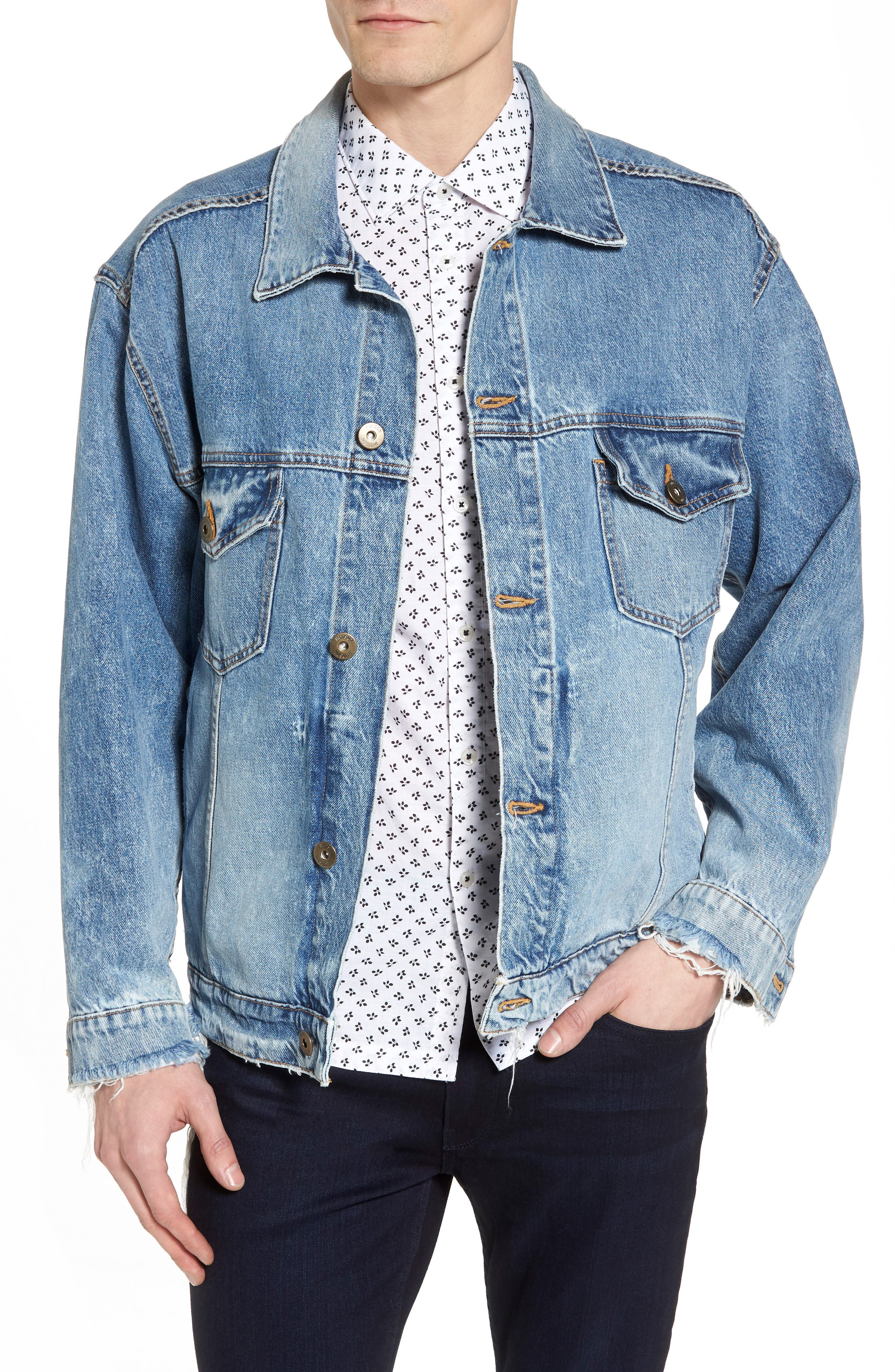 Denim Trucker Jacket,                         Main,                         color, Hardtail