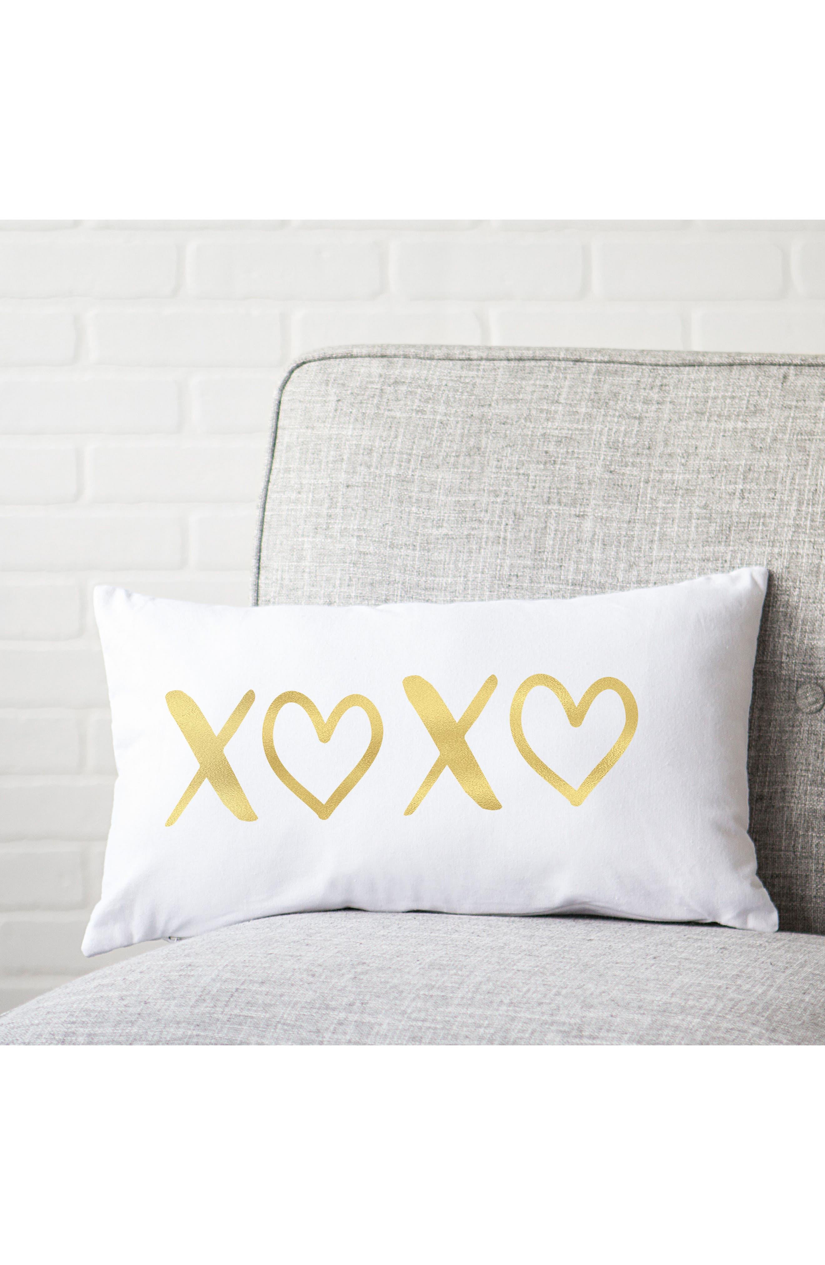 XOXO Accent Pillow,                             Alternate thumbnail 2, color,                             Gold