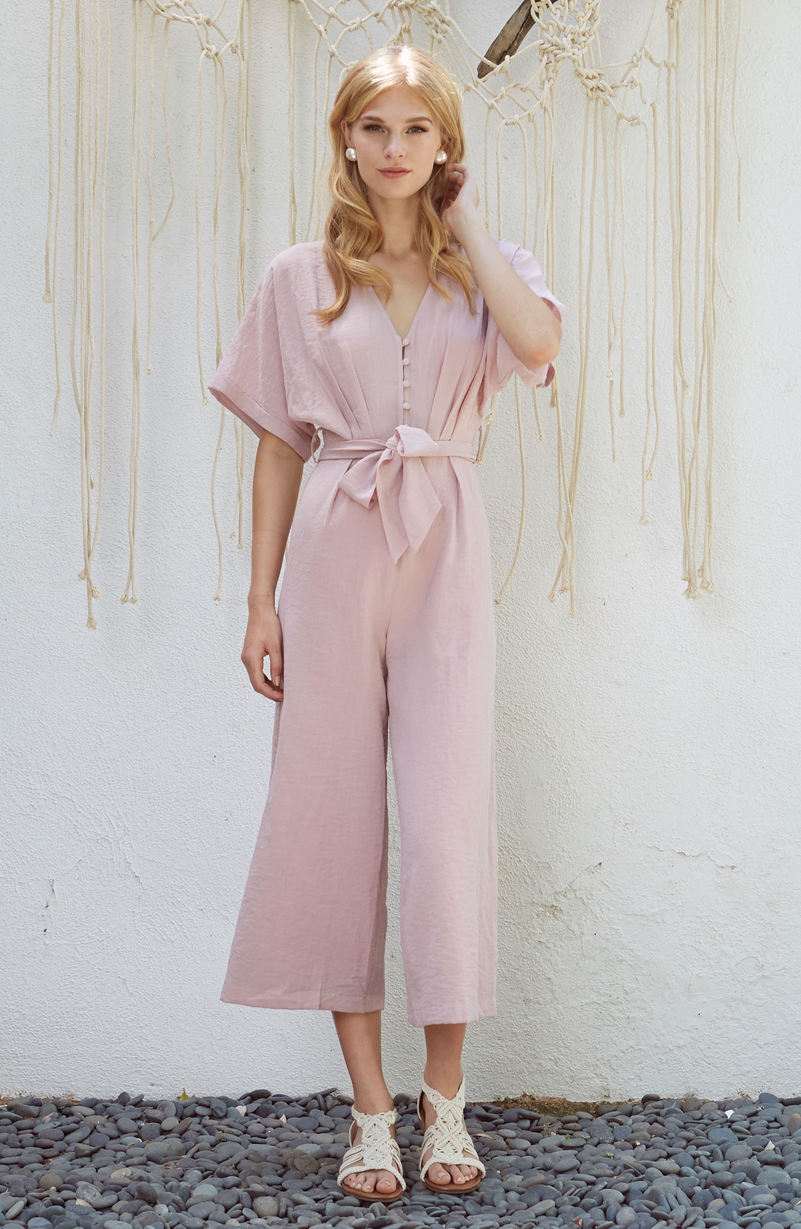 Peony Tie Waist Jumpsuit,                             Alternate thumbnail 2, color,                             Pink