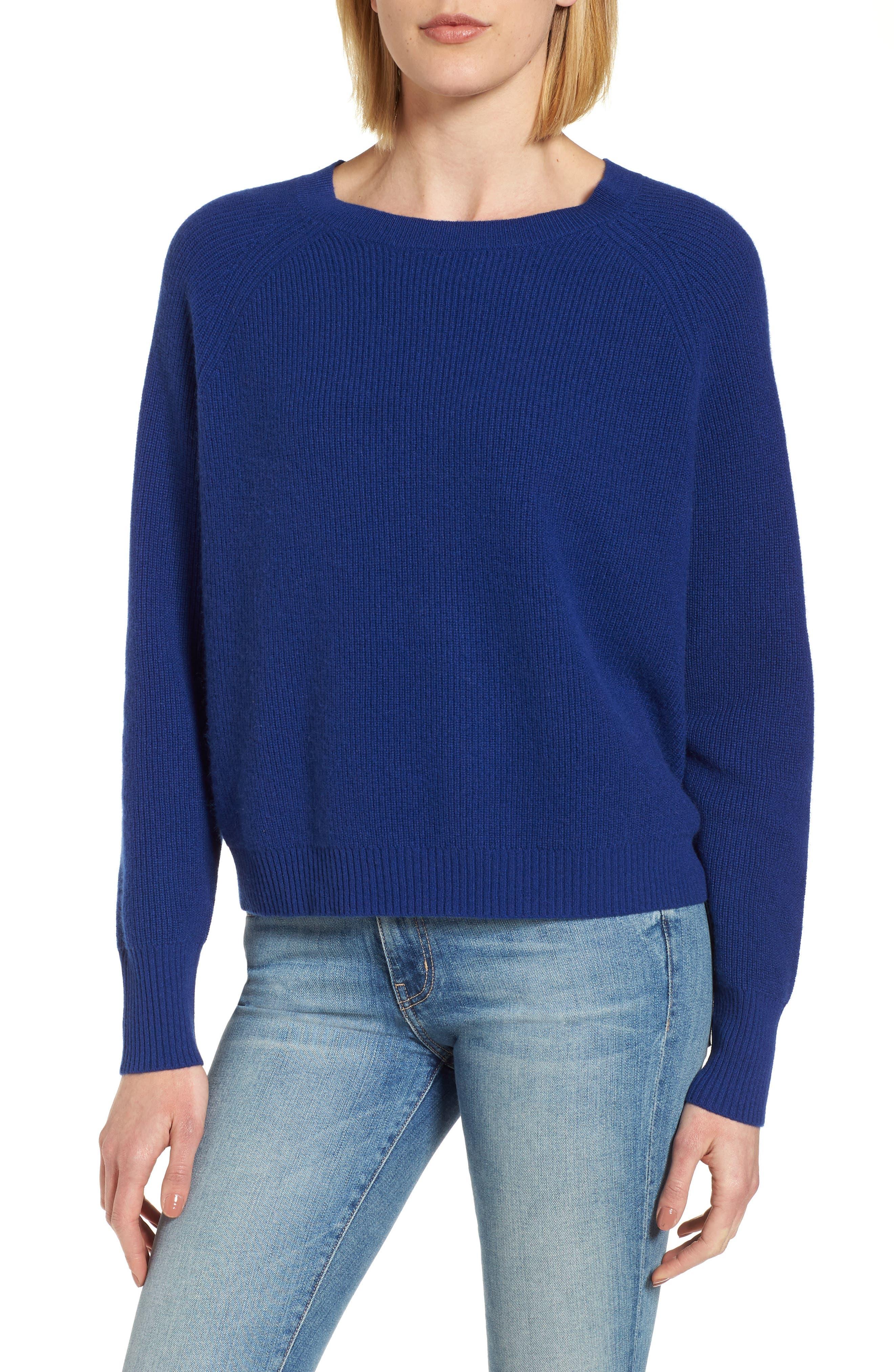 Cashmere Sweater,                             Main thumbnail 1, color,                             Coblt Blue