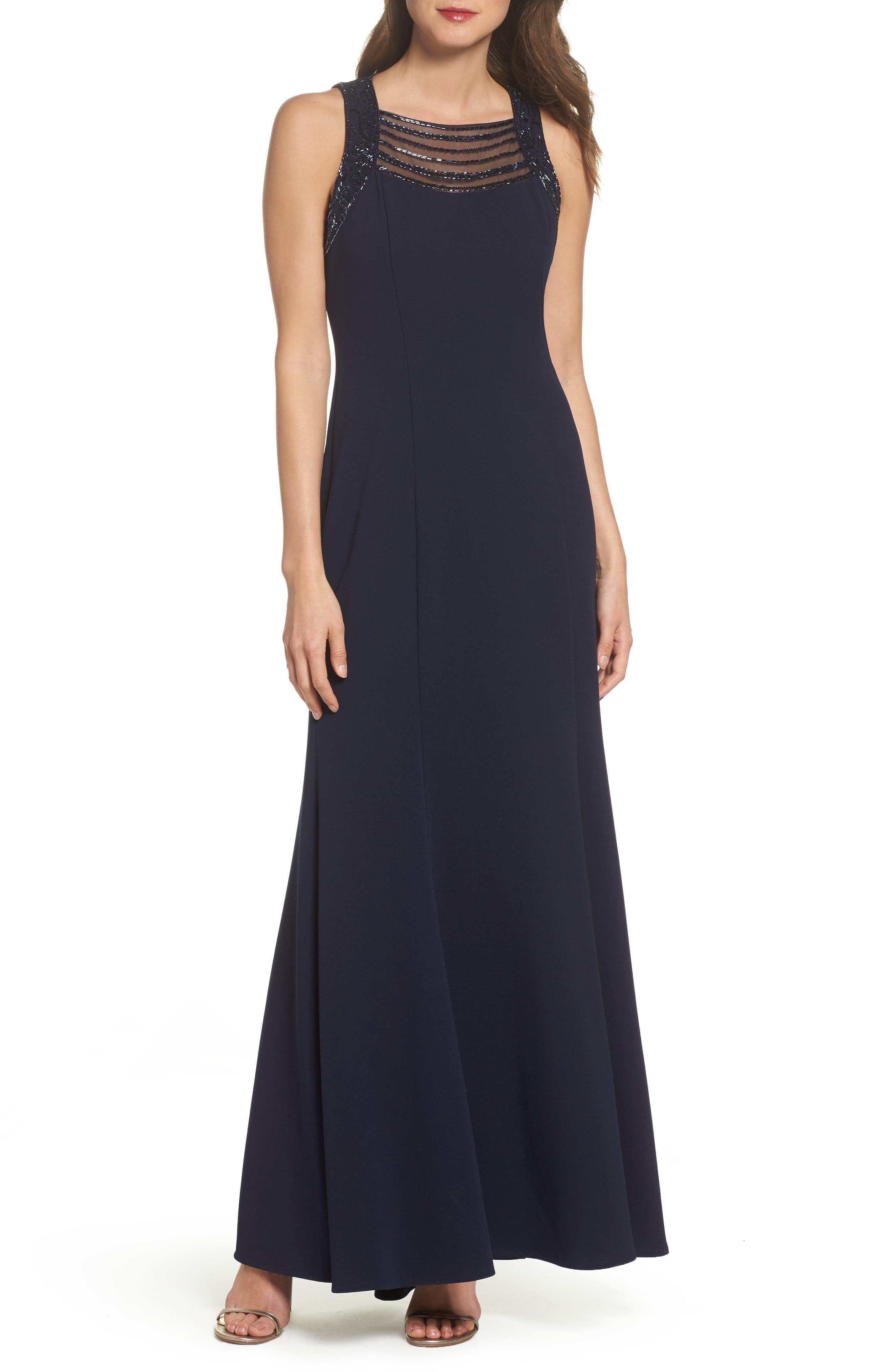 Sleeveless Scuba Crepe Gown,                         Main,                         color, Navy