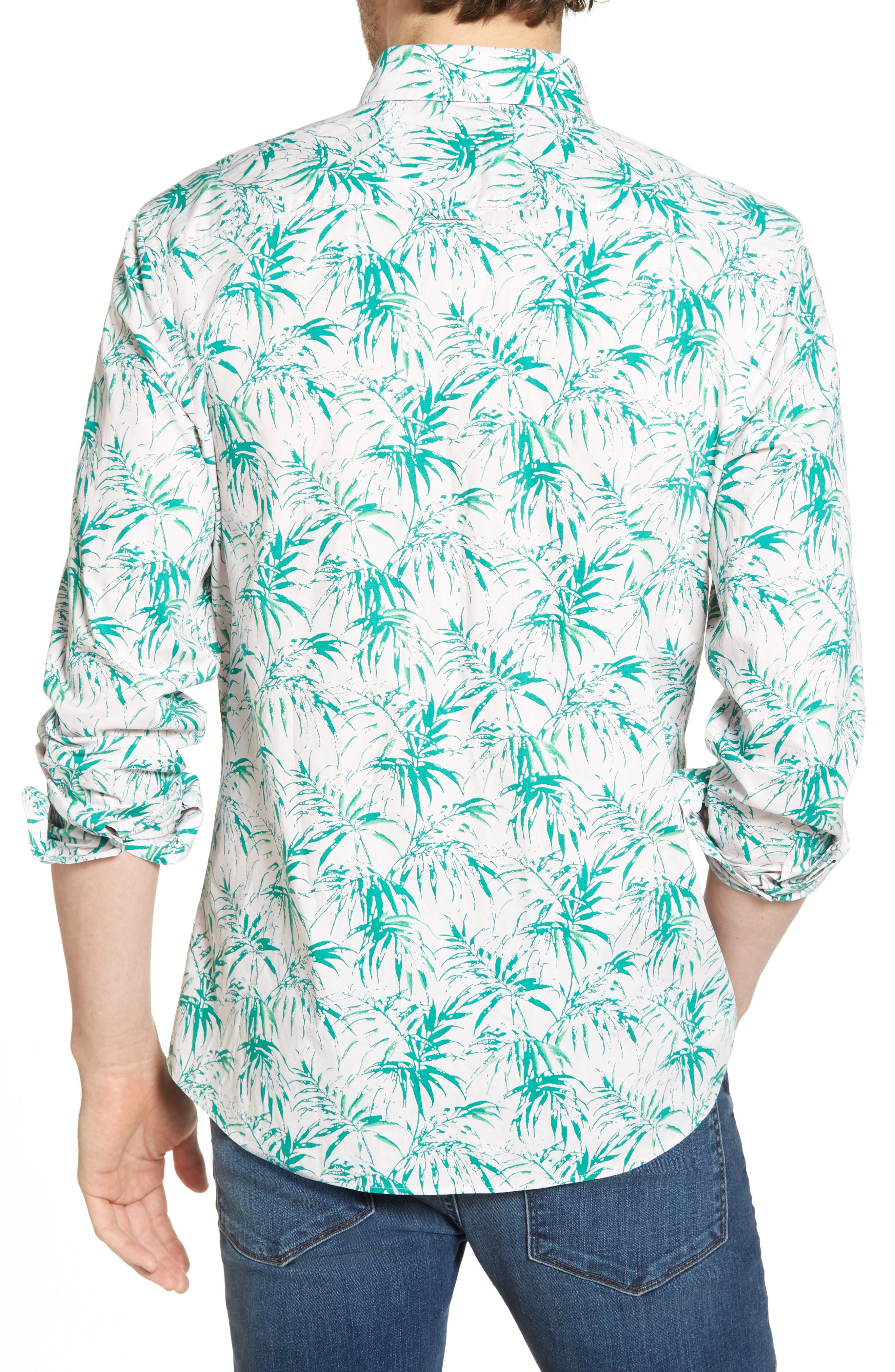 Trim Fit Palm Print Sport Shirt,                             Alternate thumbnail 3, color,                             Pink Green Stamped Palms