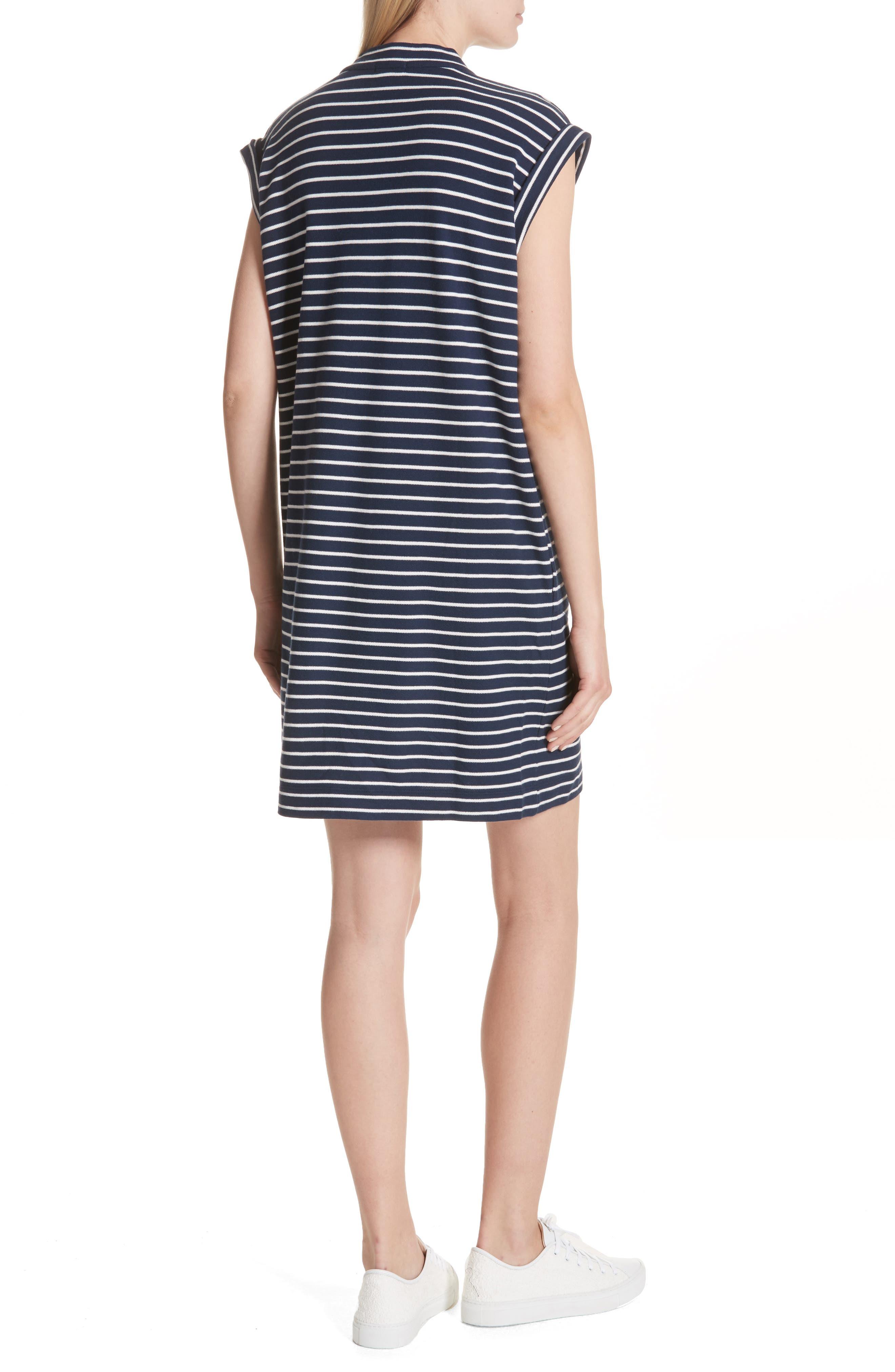 Stripe Shift Dress,                             Alternate thumbnail 2, color,                             Navy/ Chalk Stripe
