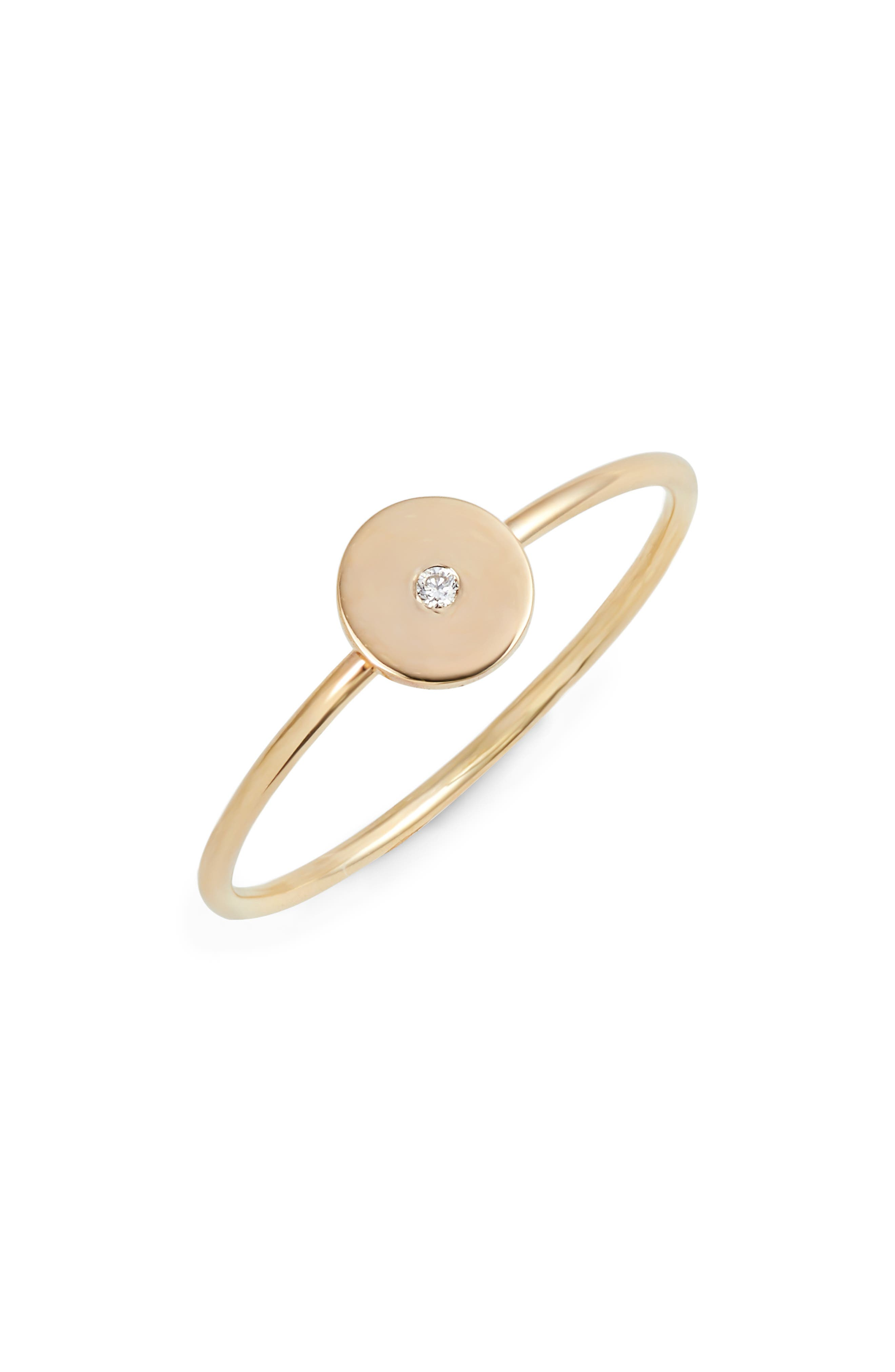 Diamond Disc Stackable Ring,                             Main thumbnail 1, color,                             Yellow Gold