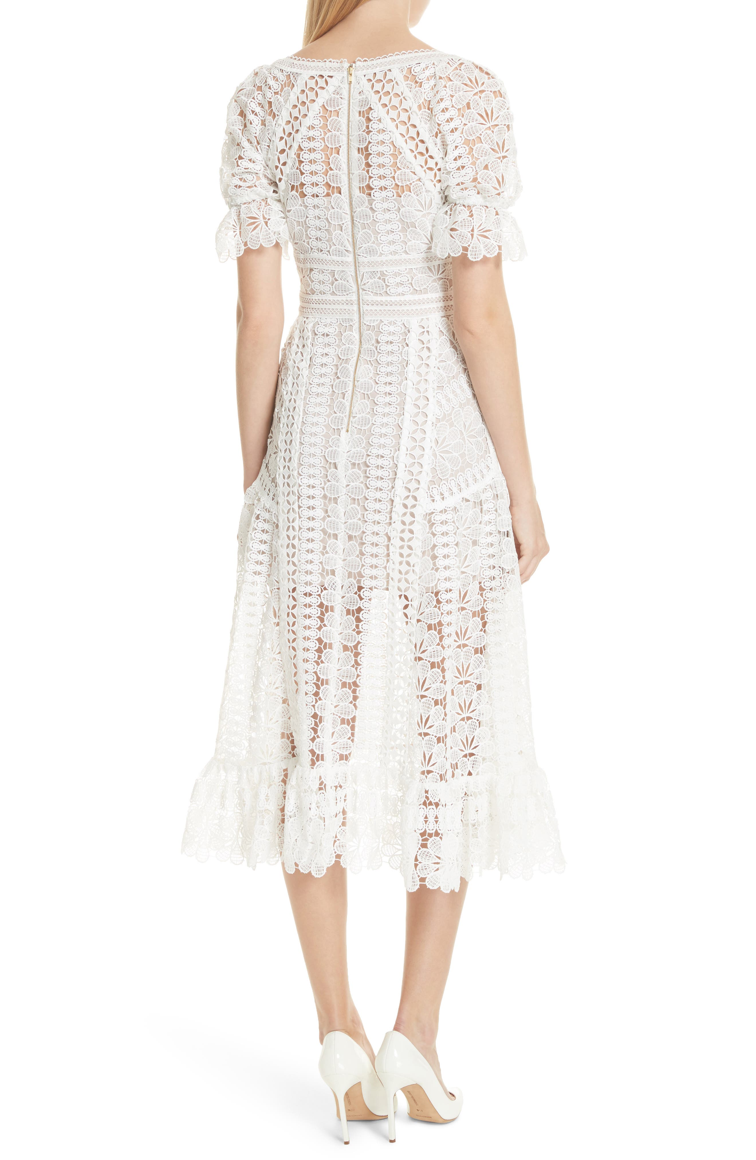 Floral Guipure Lace Midi Dress,                             Alternate thumbnail 2, color,                             White