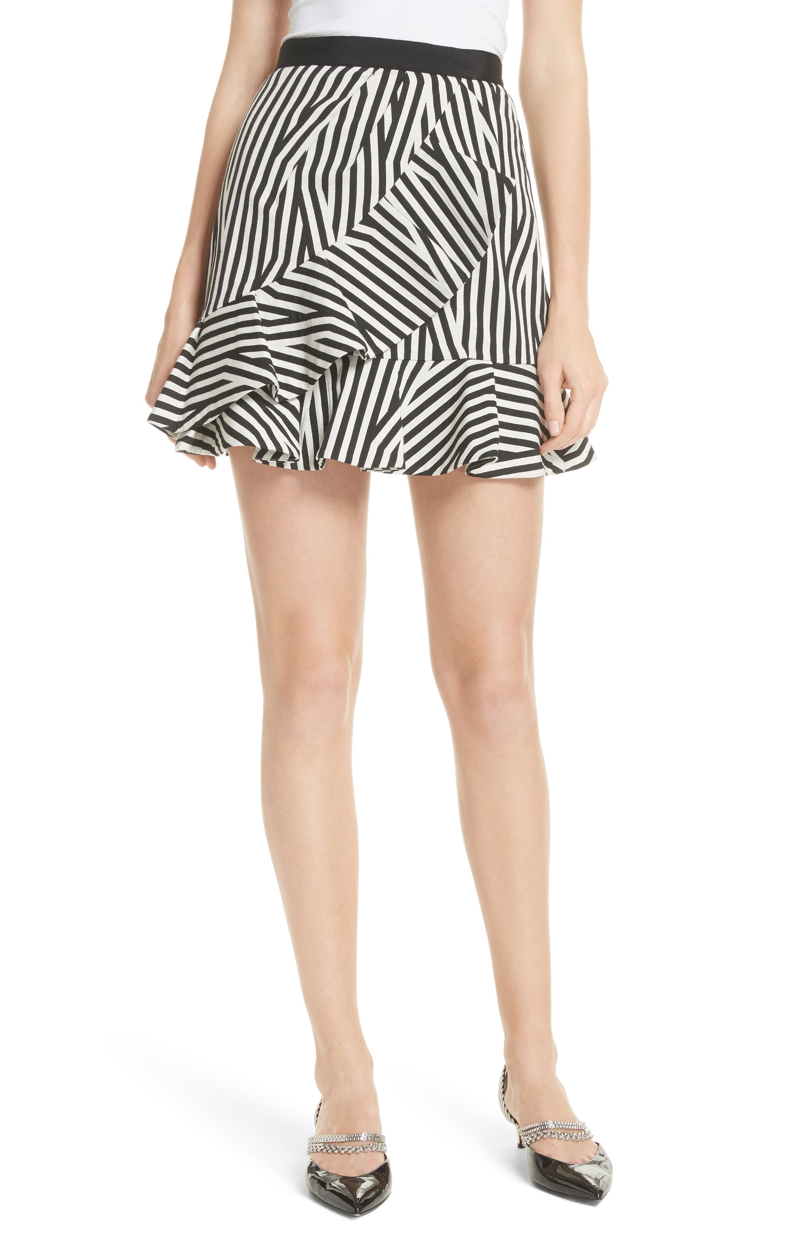 Self-Portrait Abstract Stripe Ruffle Skirt