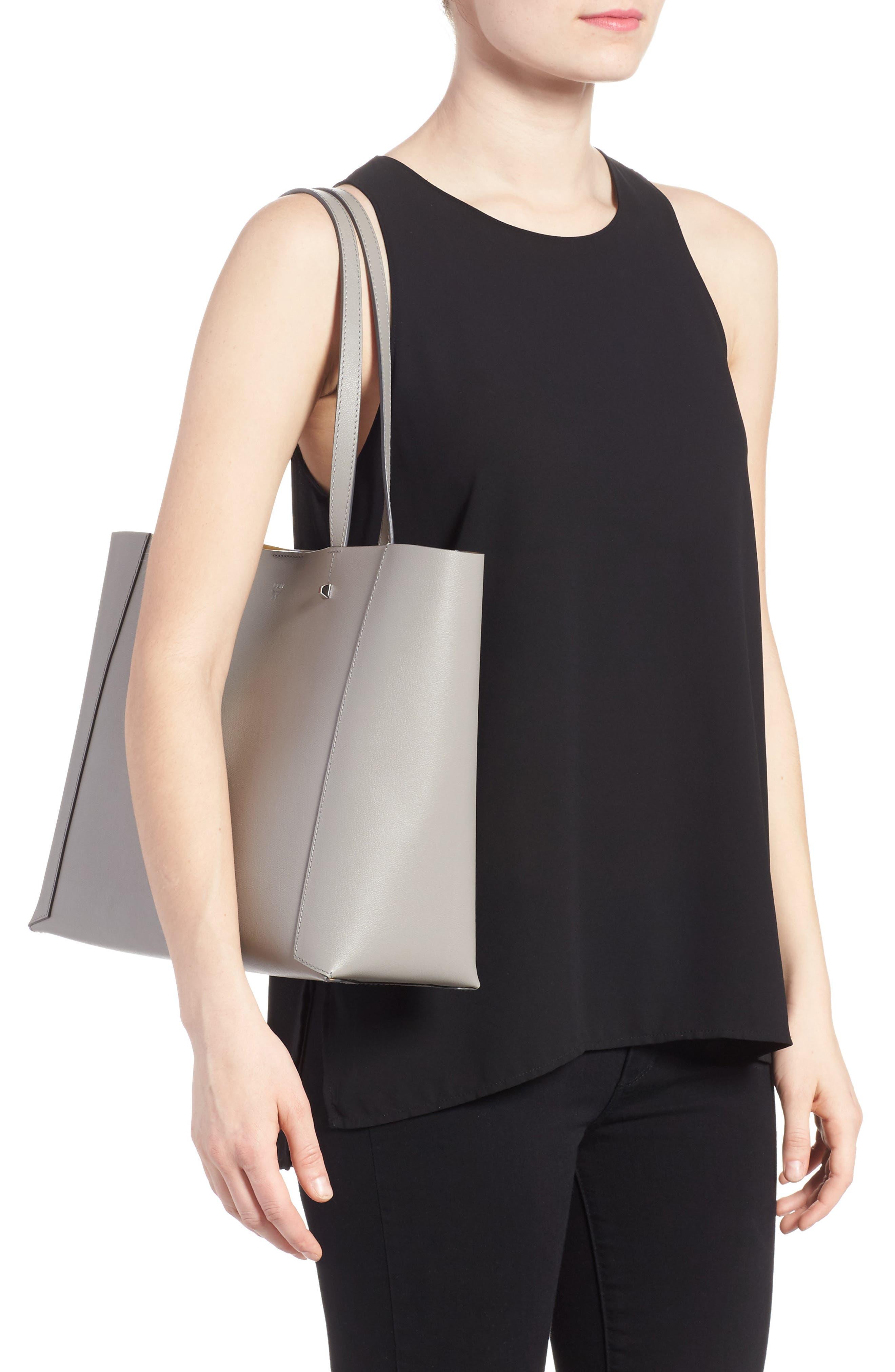 Ilse East/West Leather Shopper,                             Alternate thumbnail 2, color,                             Arch Grey