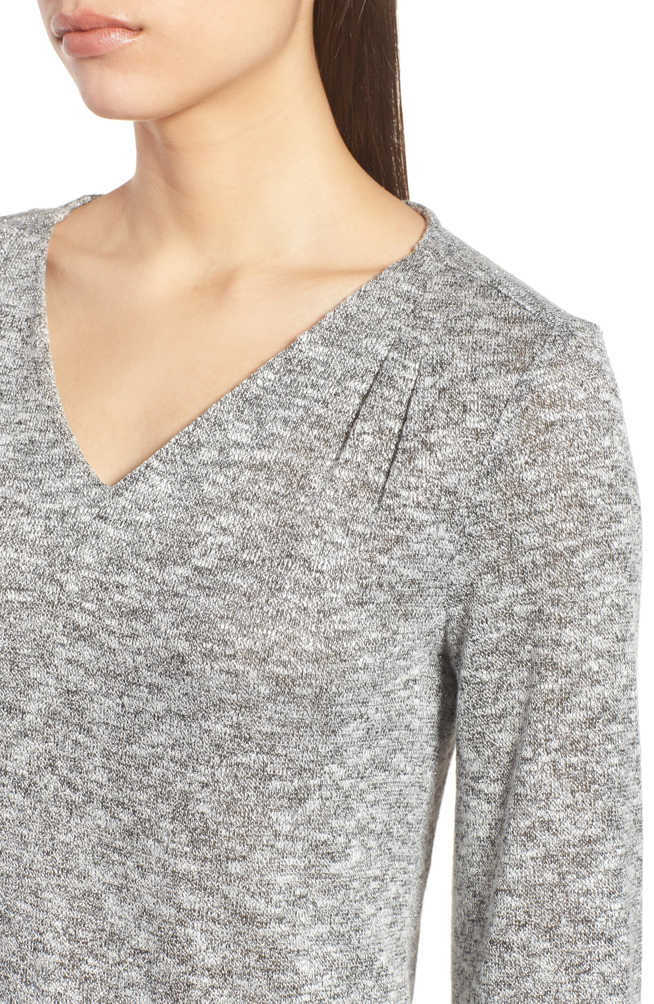 Sparkle Heathered V-Neck Top,                             Alternate thumbnail 4, color,                             050-Grey Heather