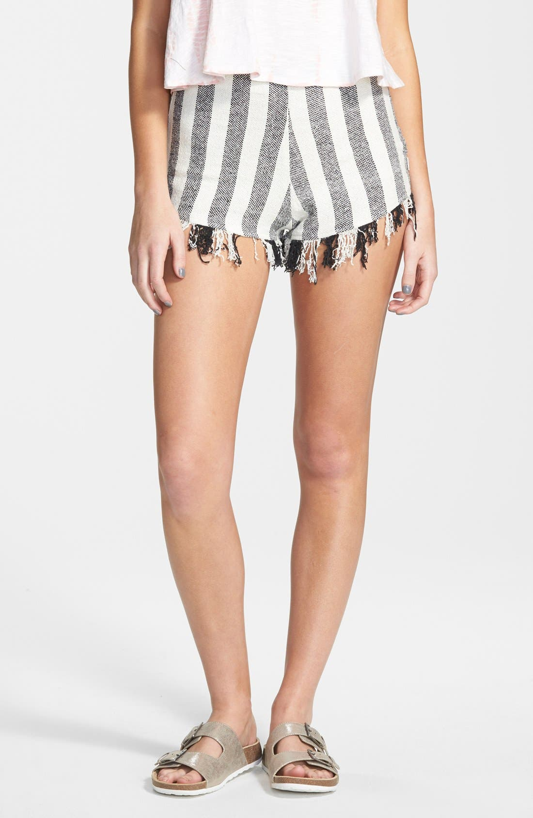 'Marooned' High Waist Woven Shorts,                             Main thumbnail 1, color,                             Cream