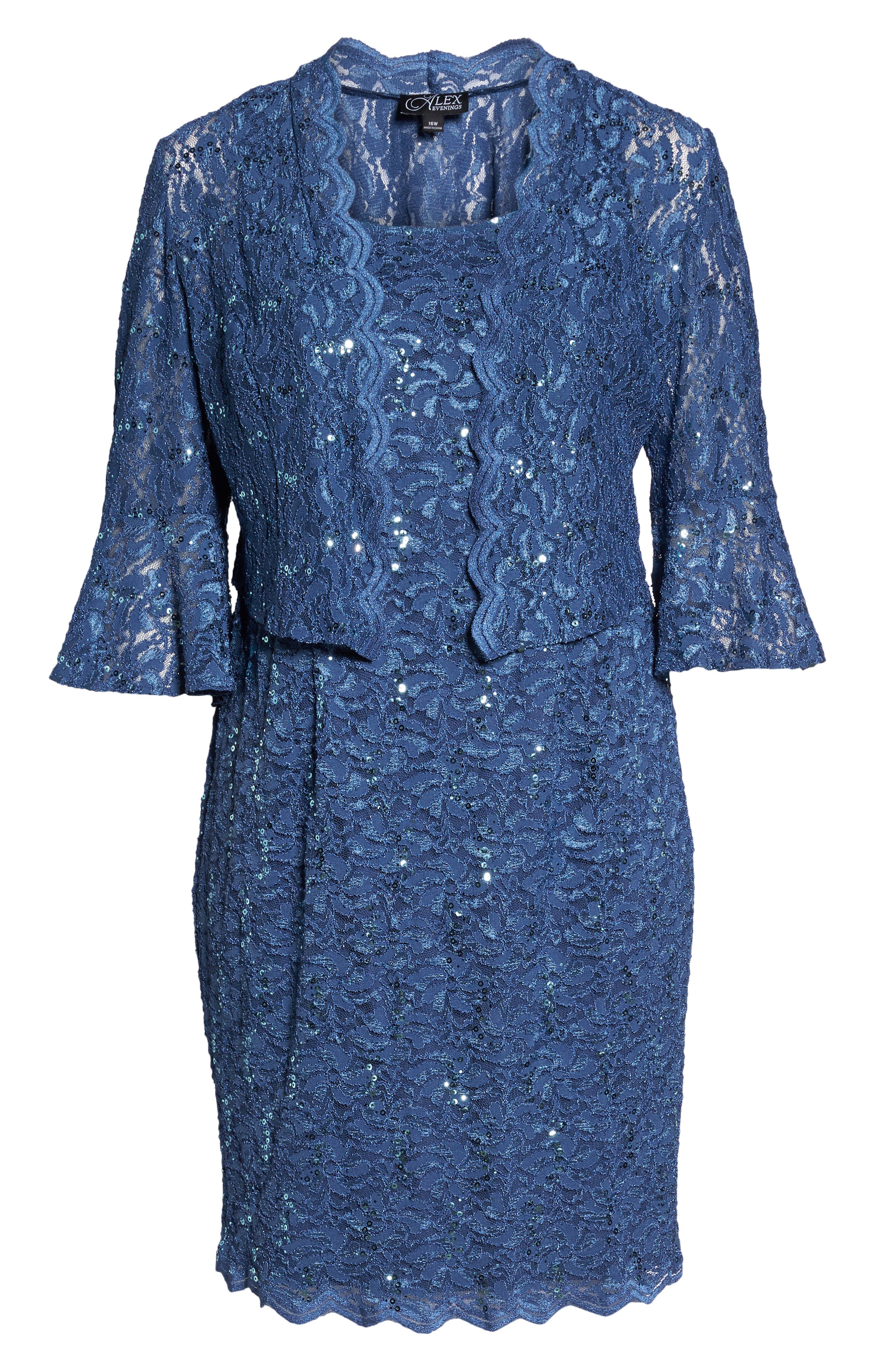 Sequin Lace Sheath Dress with Jacket,                             Alternate thumbnail 4, color,                             Wedgewood