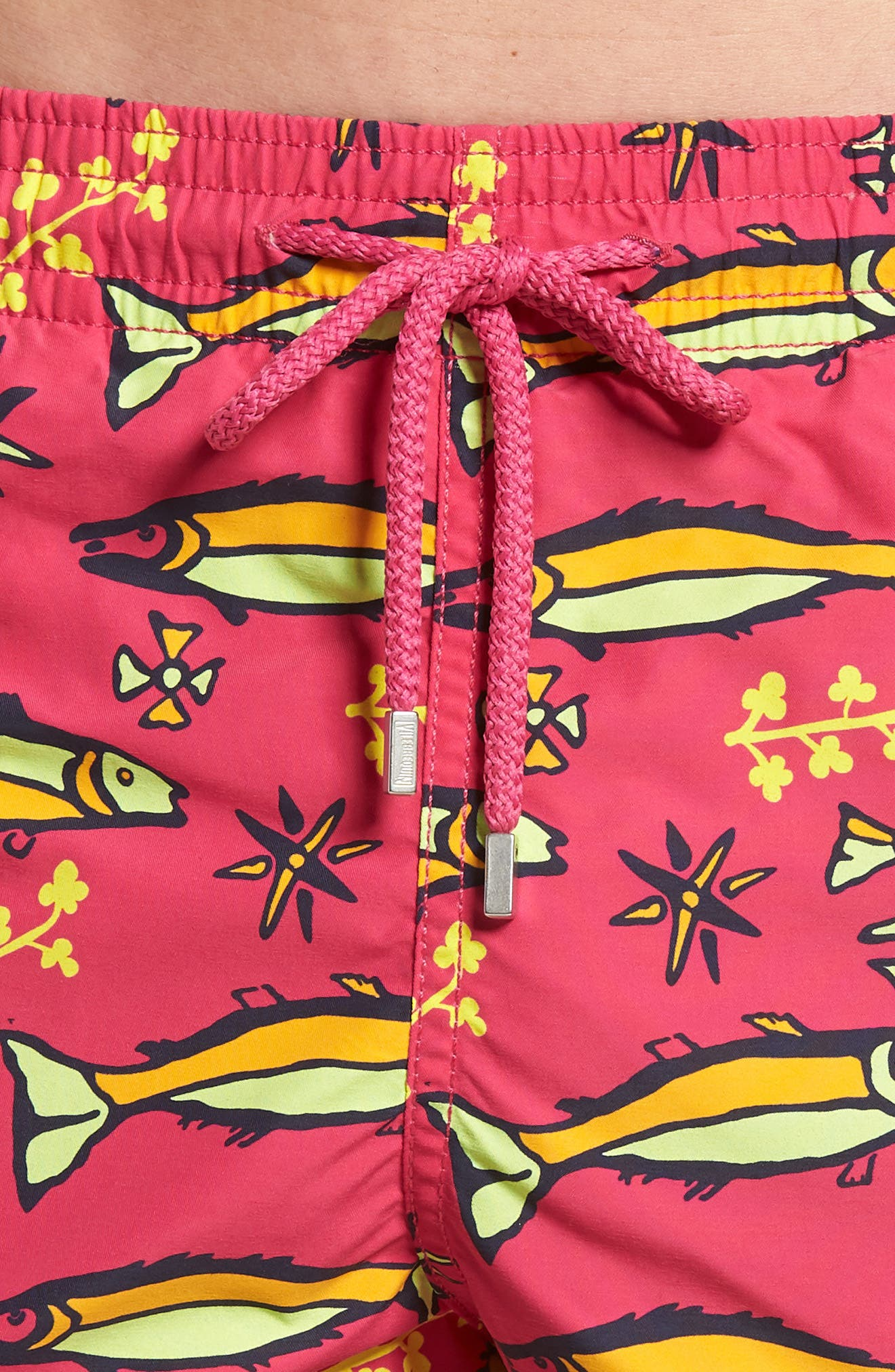 Sardines A Lhuile Print Swim Trunks,                             Alternate thumbnail 4, color,                             Shocking Pink