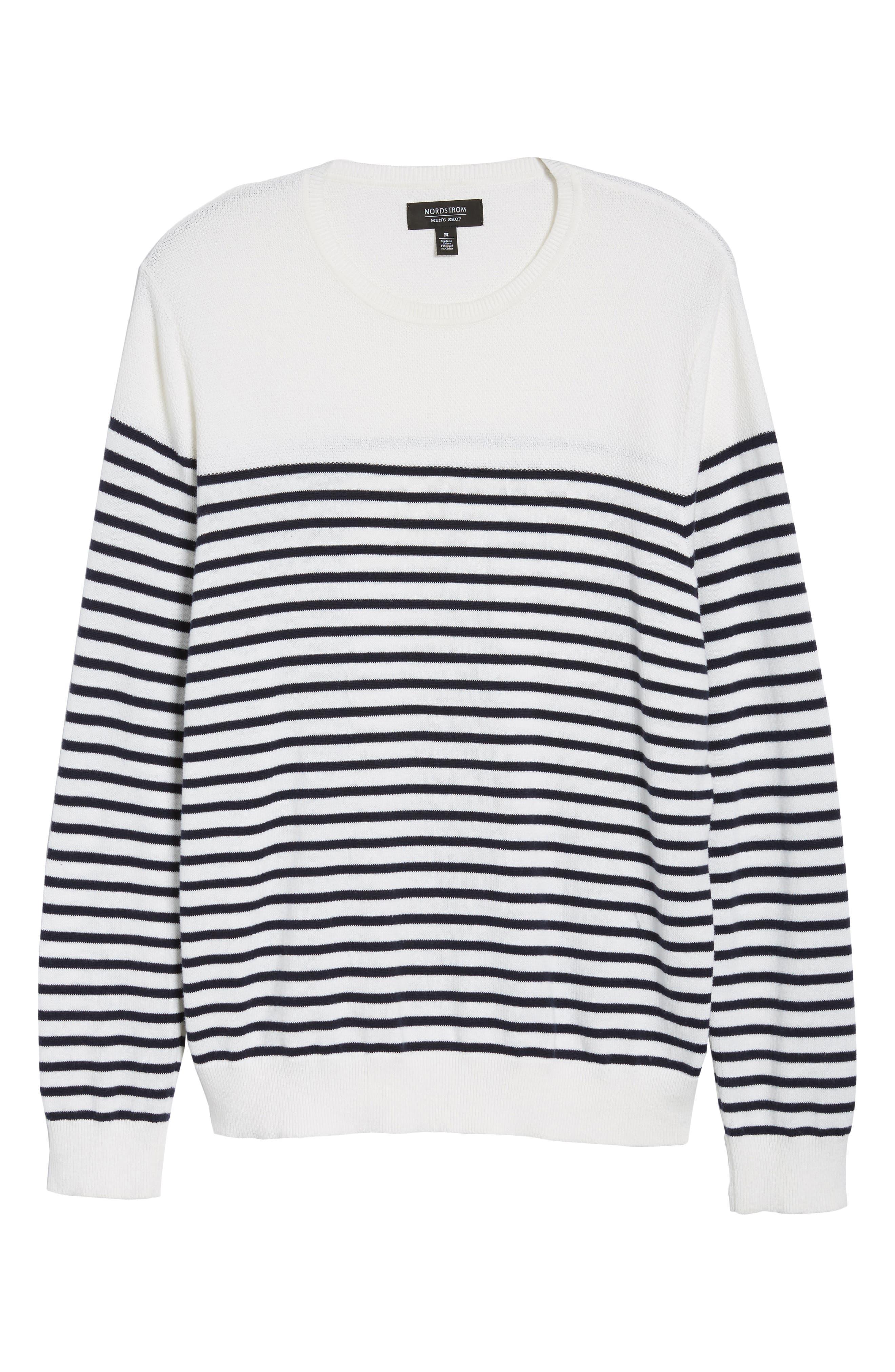 Breton Stripe Sweater,                             Alternate thumbnail 6, color,                             White Navy Stripe