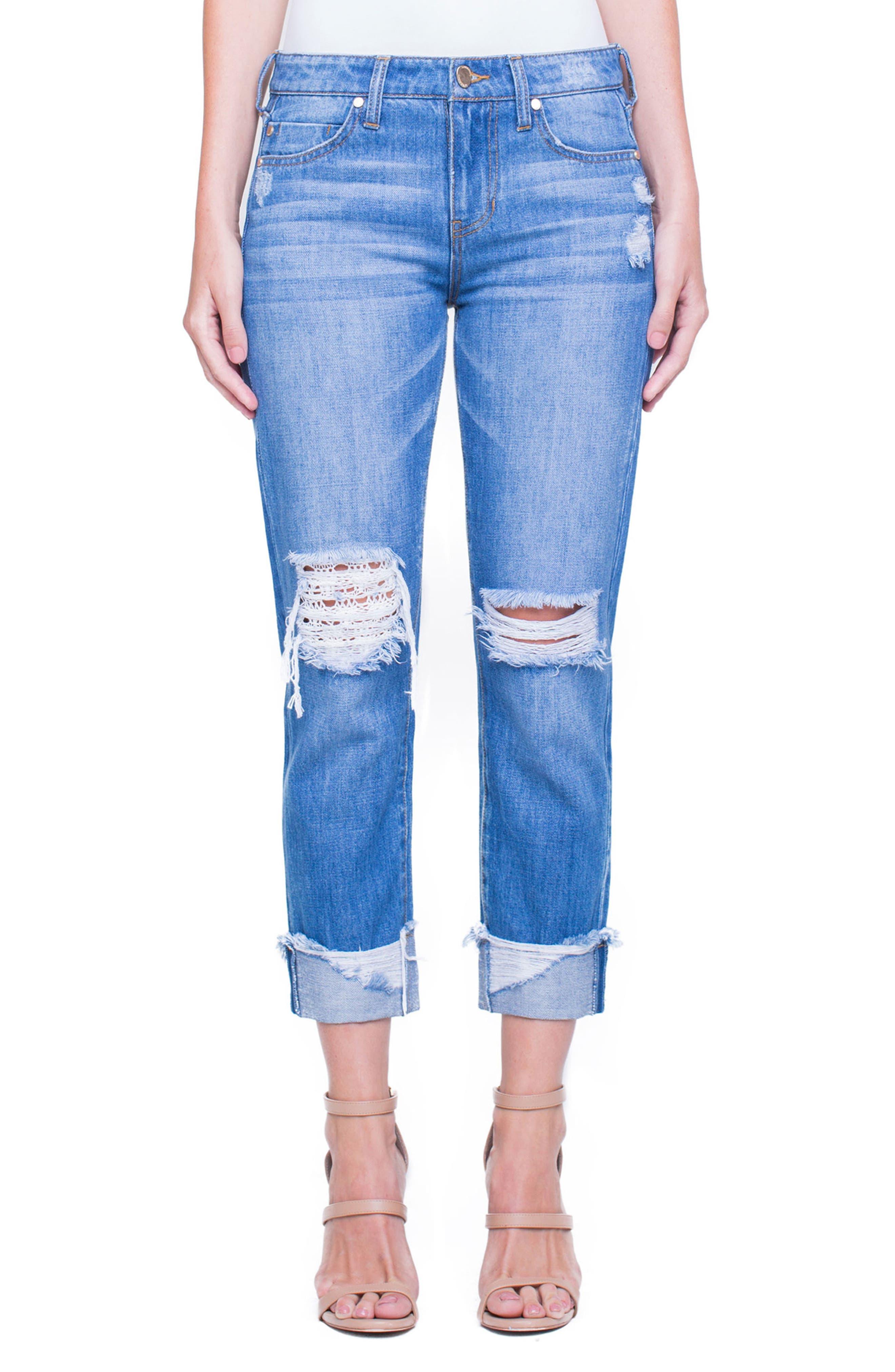 Main Image - Liverpool Jeans Company Kennedy Distressed Raw Hem Crop Boyfriend Jeans (Destruct)
