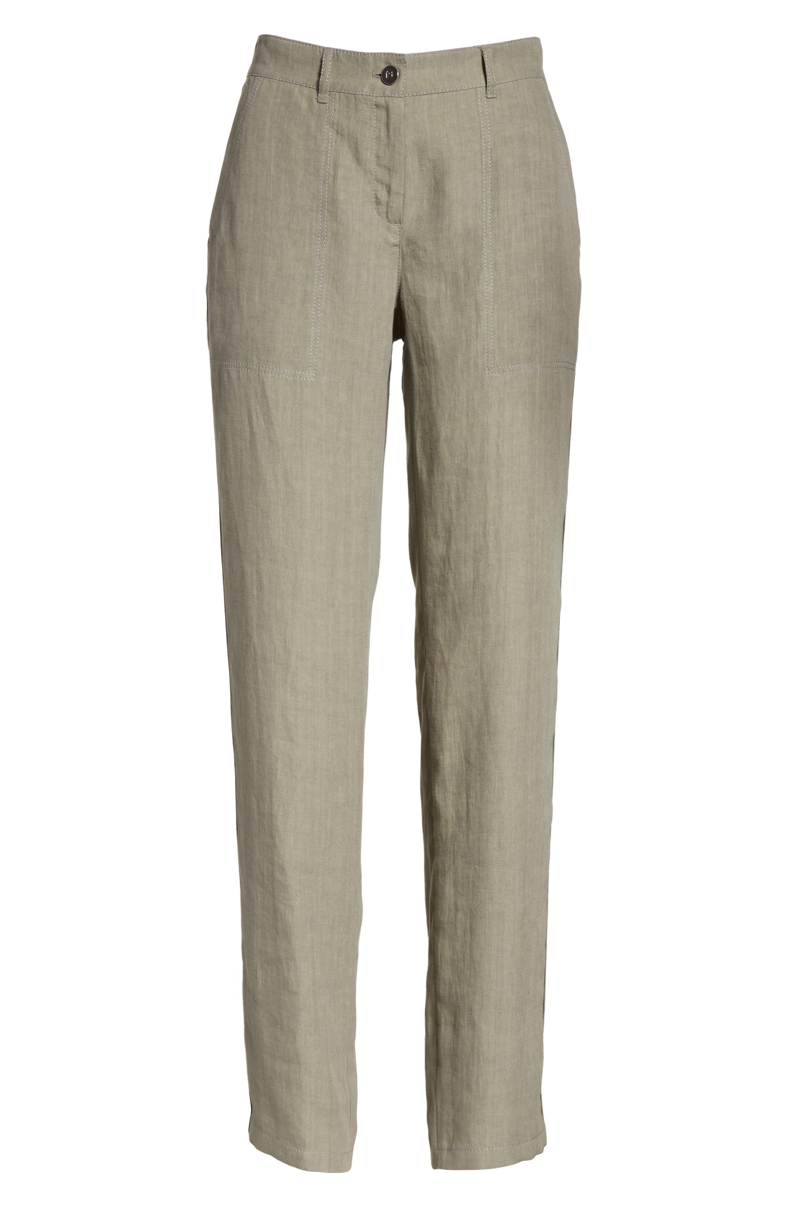Fulton Linen Crop Pants,                             Alternate thumbnail 6, color,                             Fog
