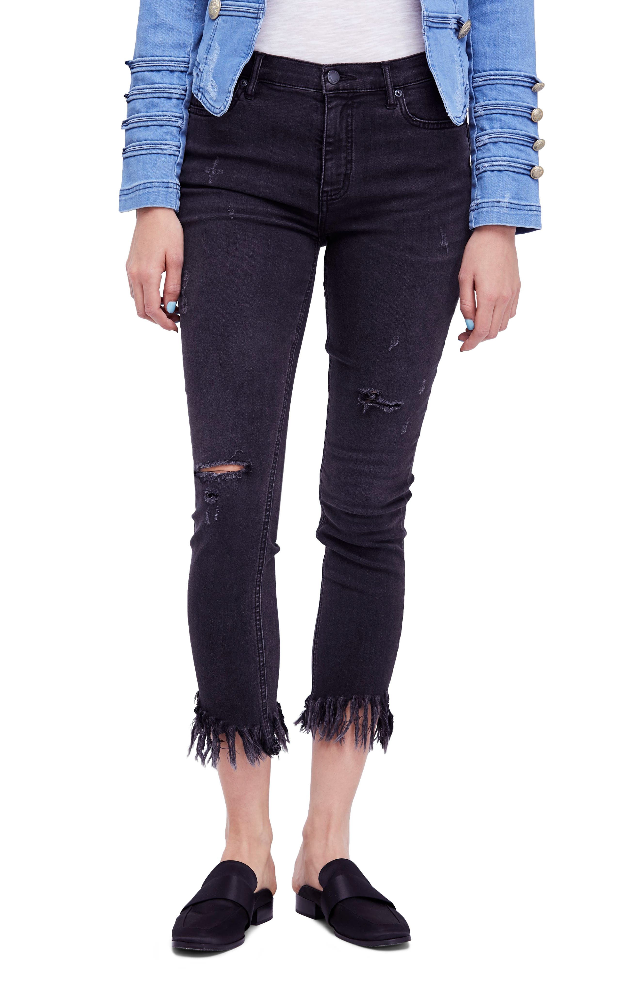 Great Heights Frayed Skinny Jeans,                             Main thumbnail 1, color,                             Black