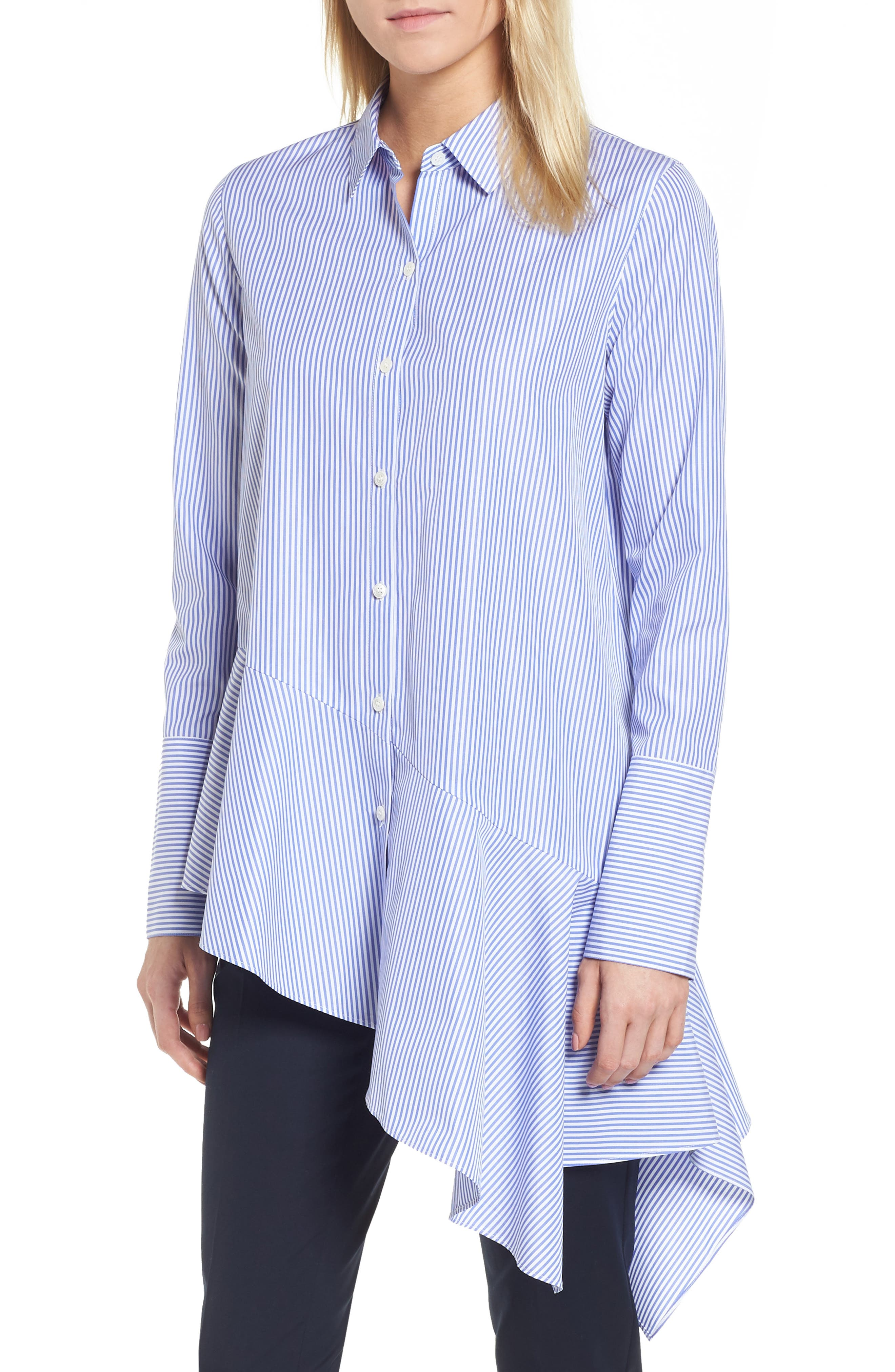 Asymmetrical Stripe Shirt,                             Main thumbnail 1, color,                             Blue Denim Stripe