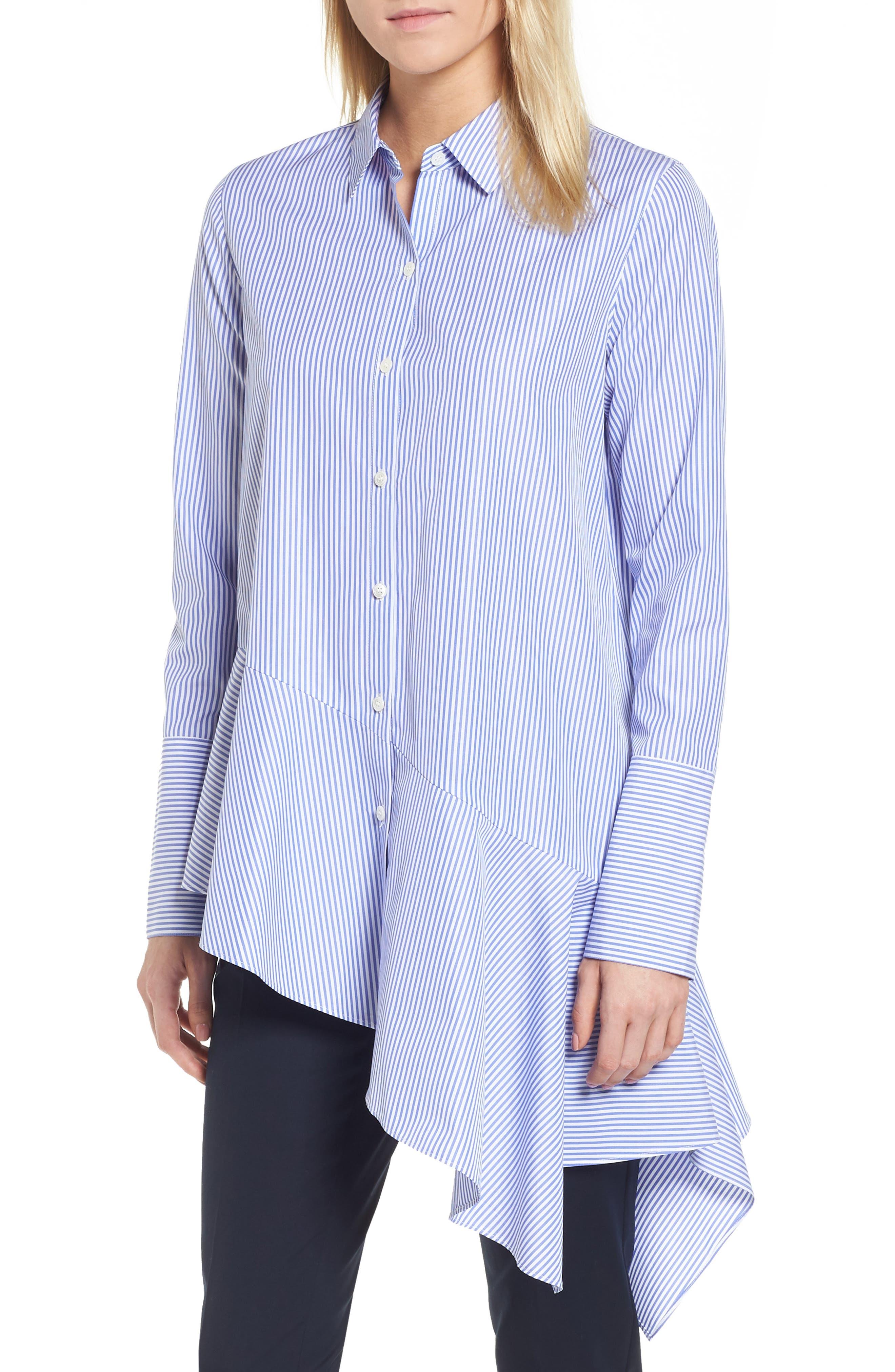 Asymmetrical Stripe Shirt,                         Main,                         color, Blue Denim Stripe