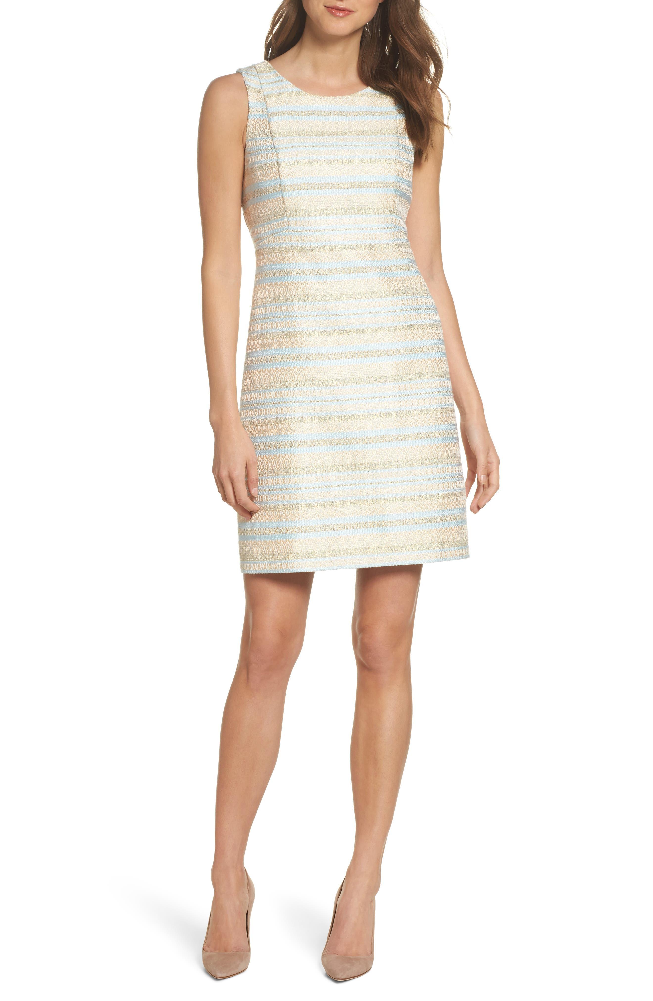 Eliza J Metallic Tweed Sheath Dress