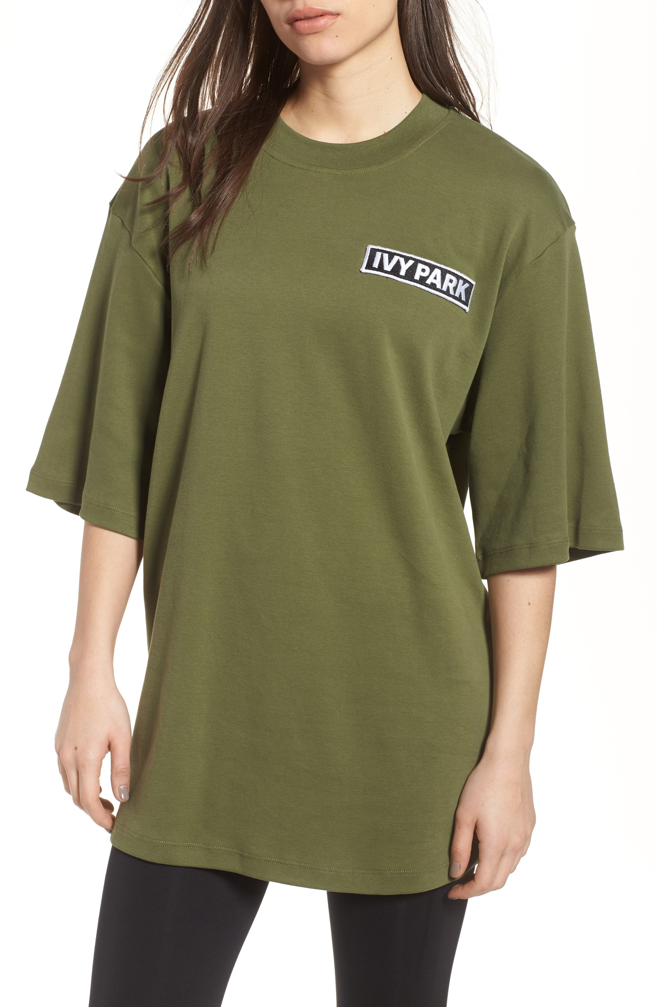 Oversize Logo Patch Tee,                         Main,                         color, Moss