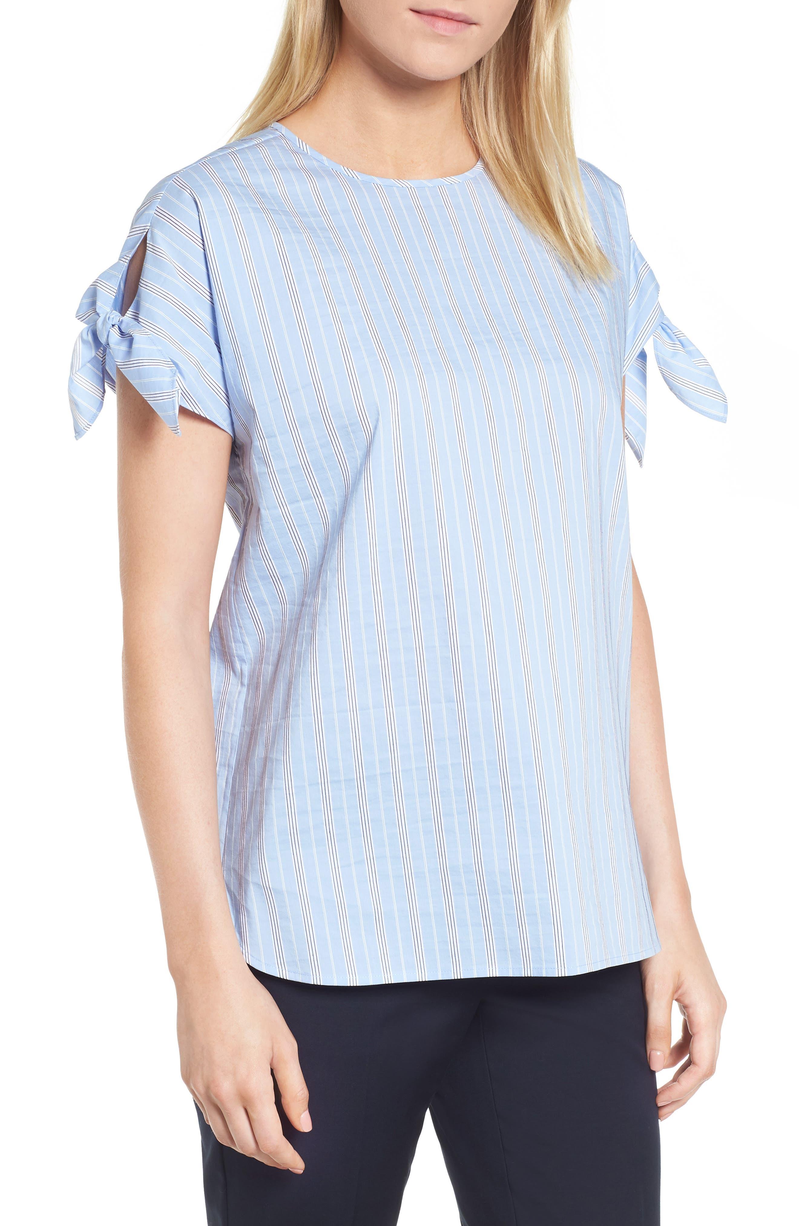 Tie Sleeve Stripe Top,                         Main,                         color, Blue Vista Stripe