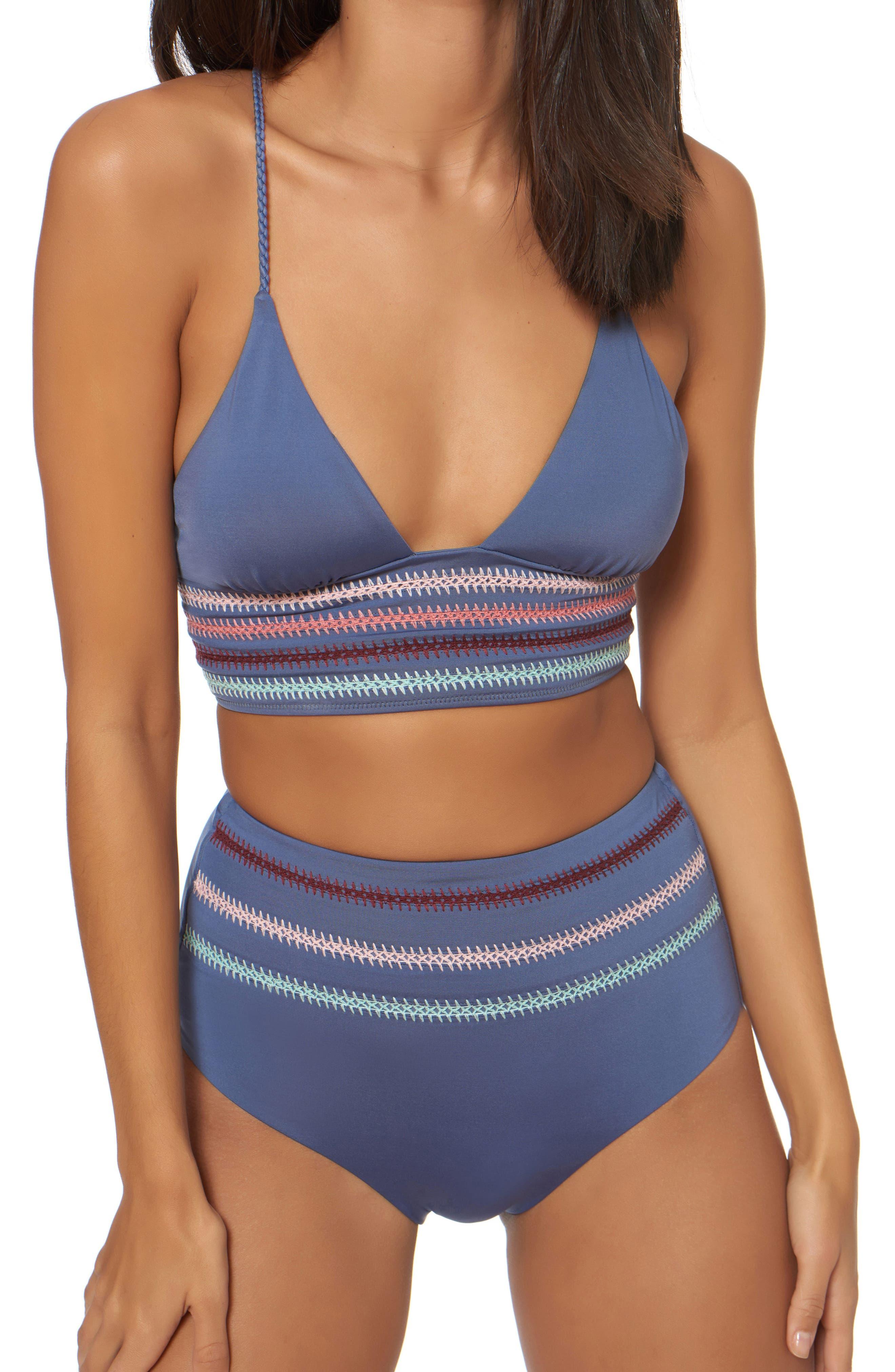 Embroidery Long Line Bikini Top,                             Alternate thumbnail 4, color,                             Pigeon