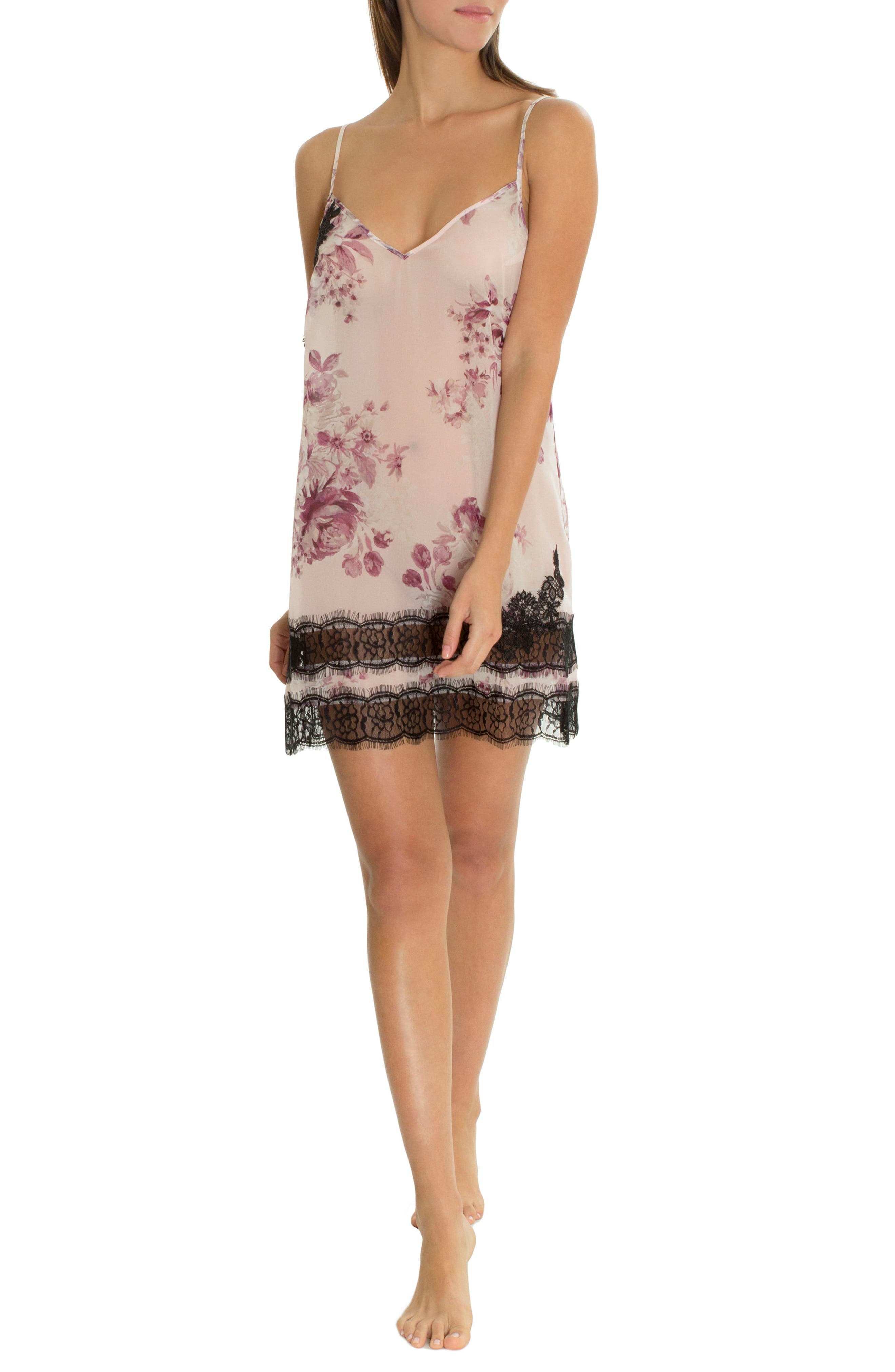 Lace Trim Satin Chemise,                             Alternate thumbnail 5, color,                             Simone Print-Mauve Ground